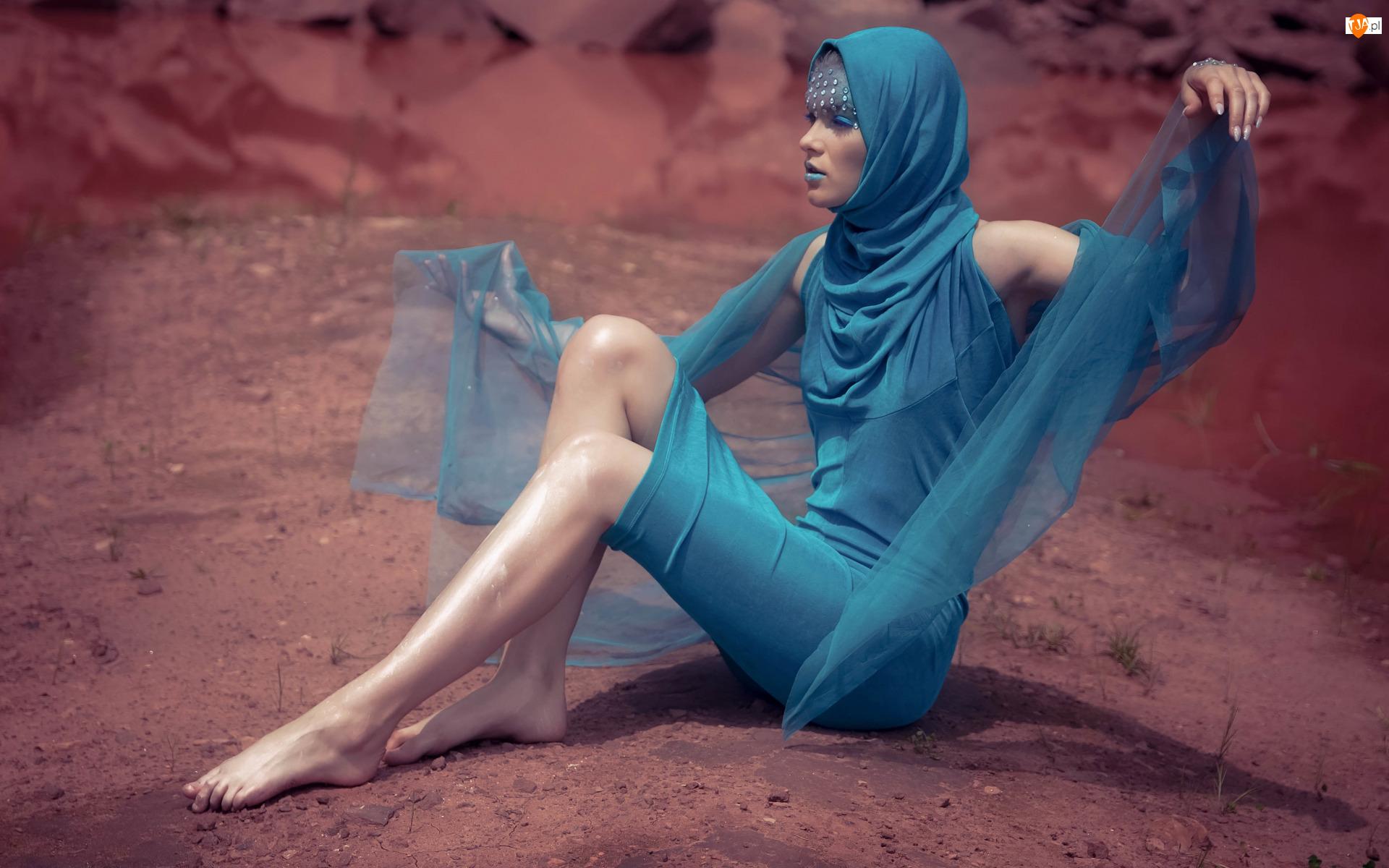 Makijaż, Kobieta, Niebieska, Sukienka