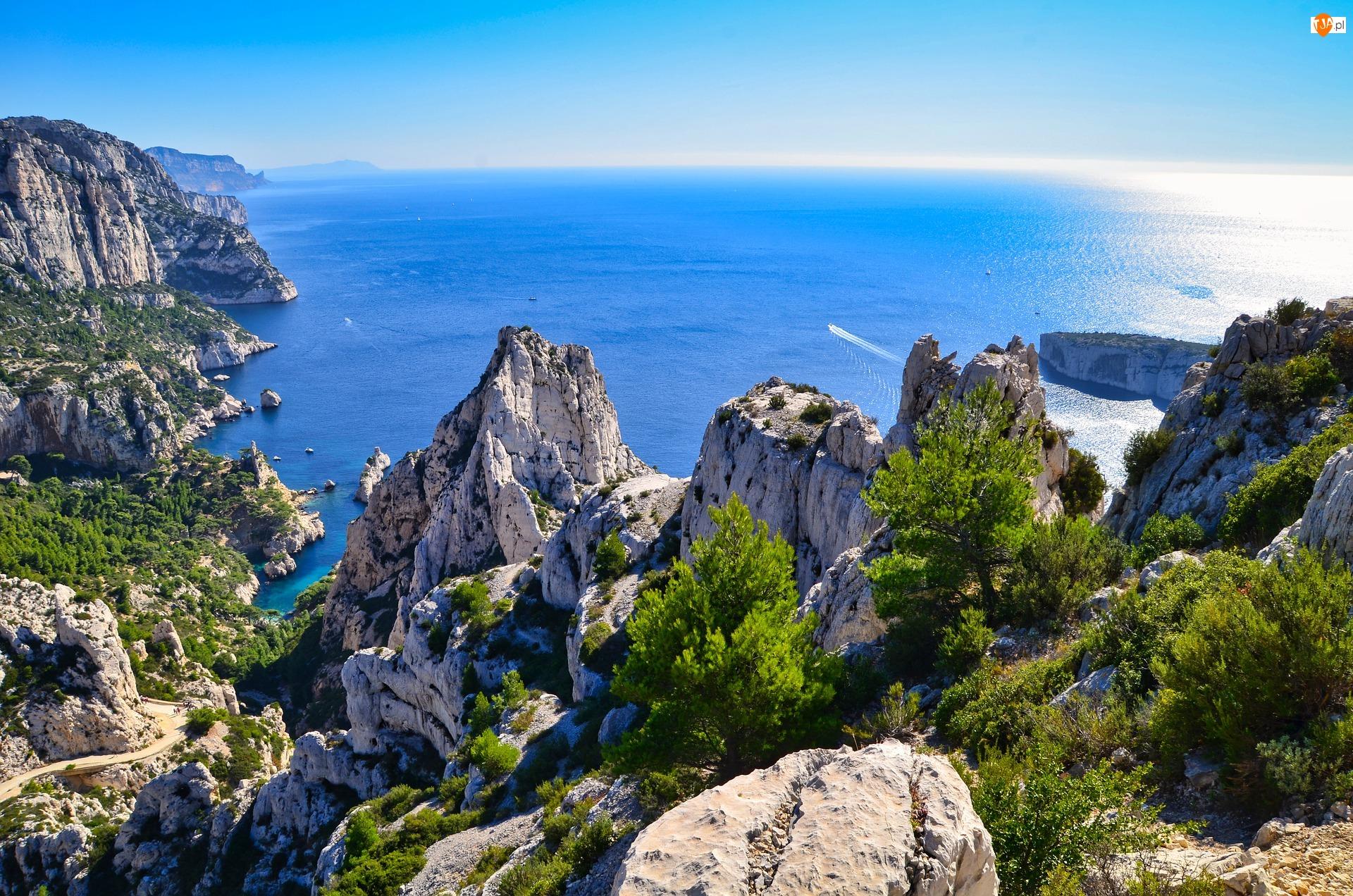 Park Narodowy Calanques, Drzewa, Morze Śródziemne, Francja, Skały