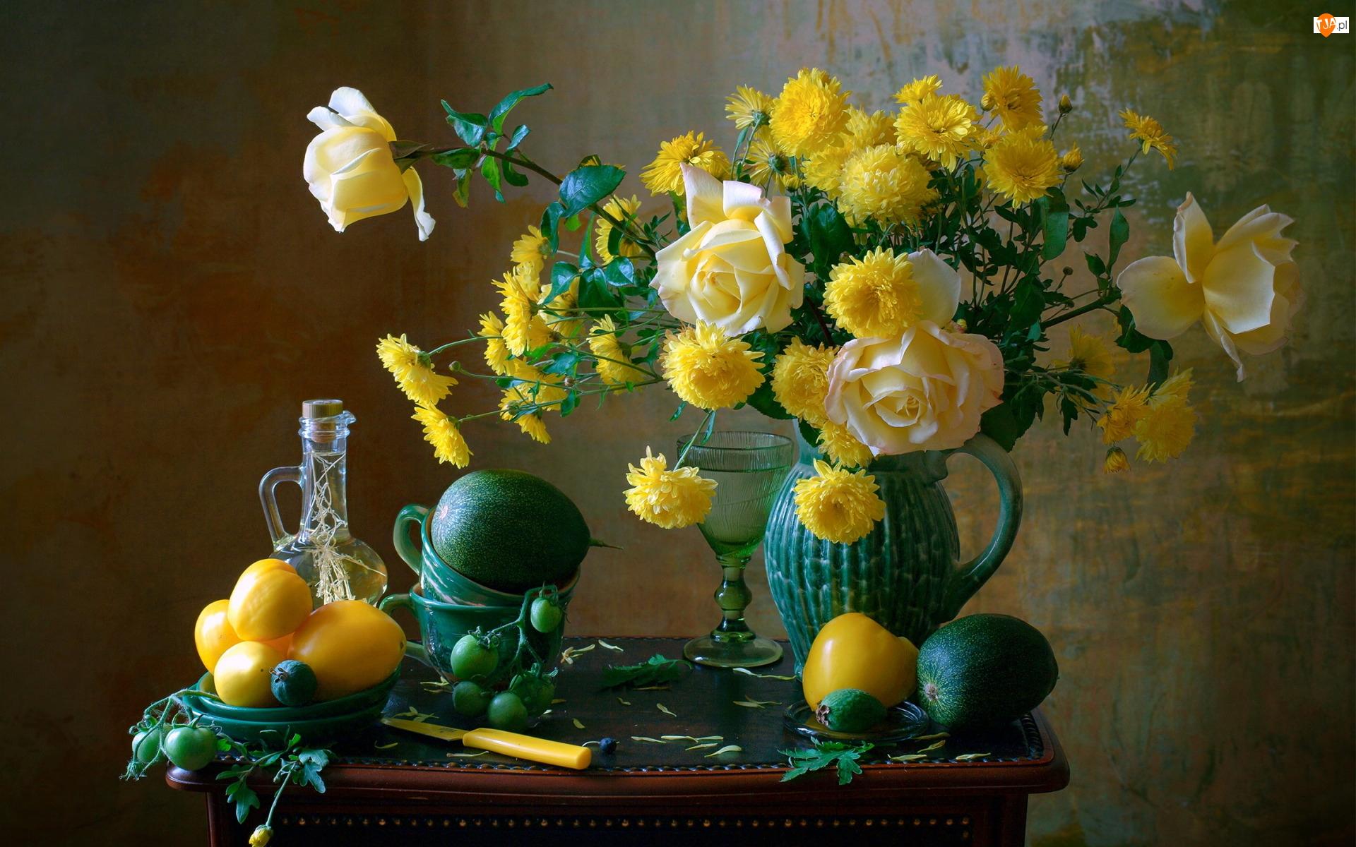 Dzbanek, Kwiaty, Kompozycja, Bukiet, Warzywa, Chryzantema, Róże