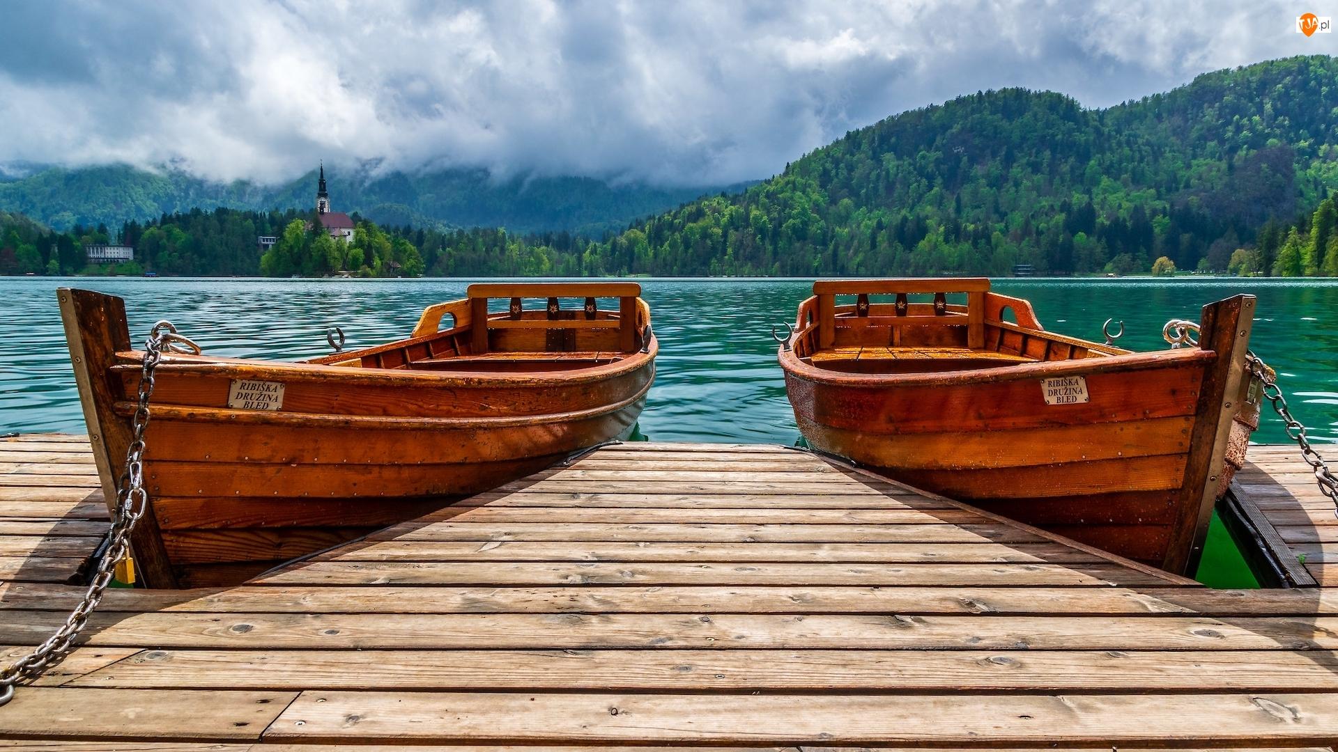 Przystań, Łódki, Jezioro Bled, Słowenia, Pomost