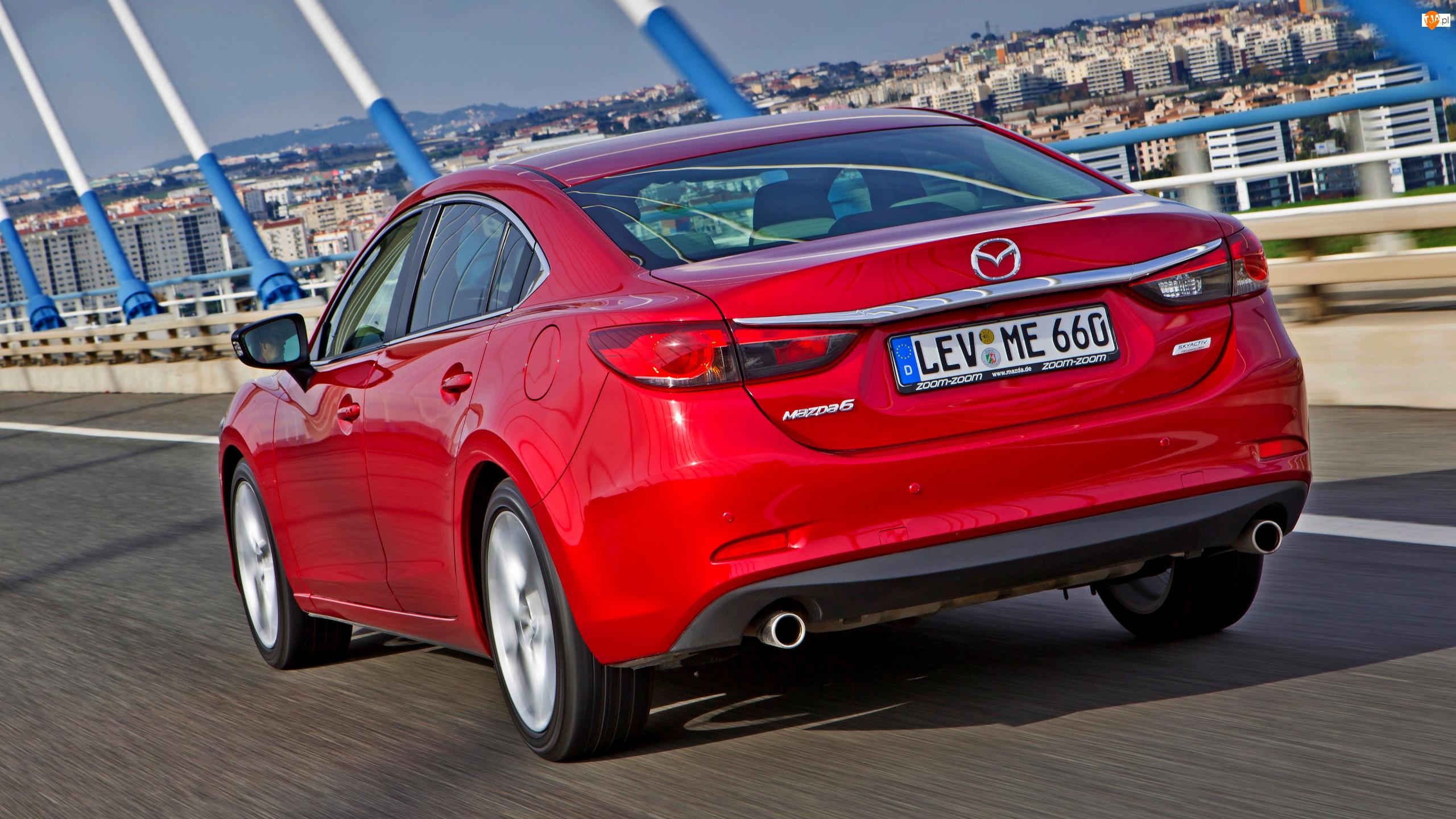 Tył, Czerwona, Mazda 6, Sedan