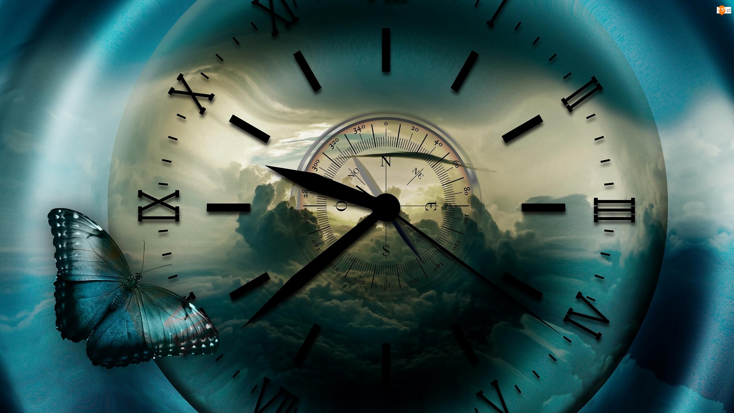Tarcza, Zegar, Chmury, Grafika, Kompas, Motyl