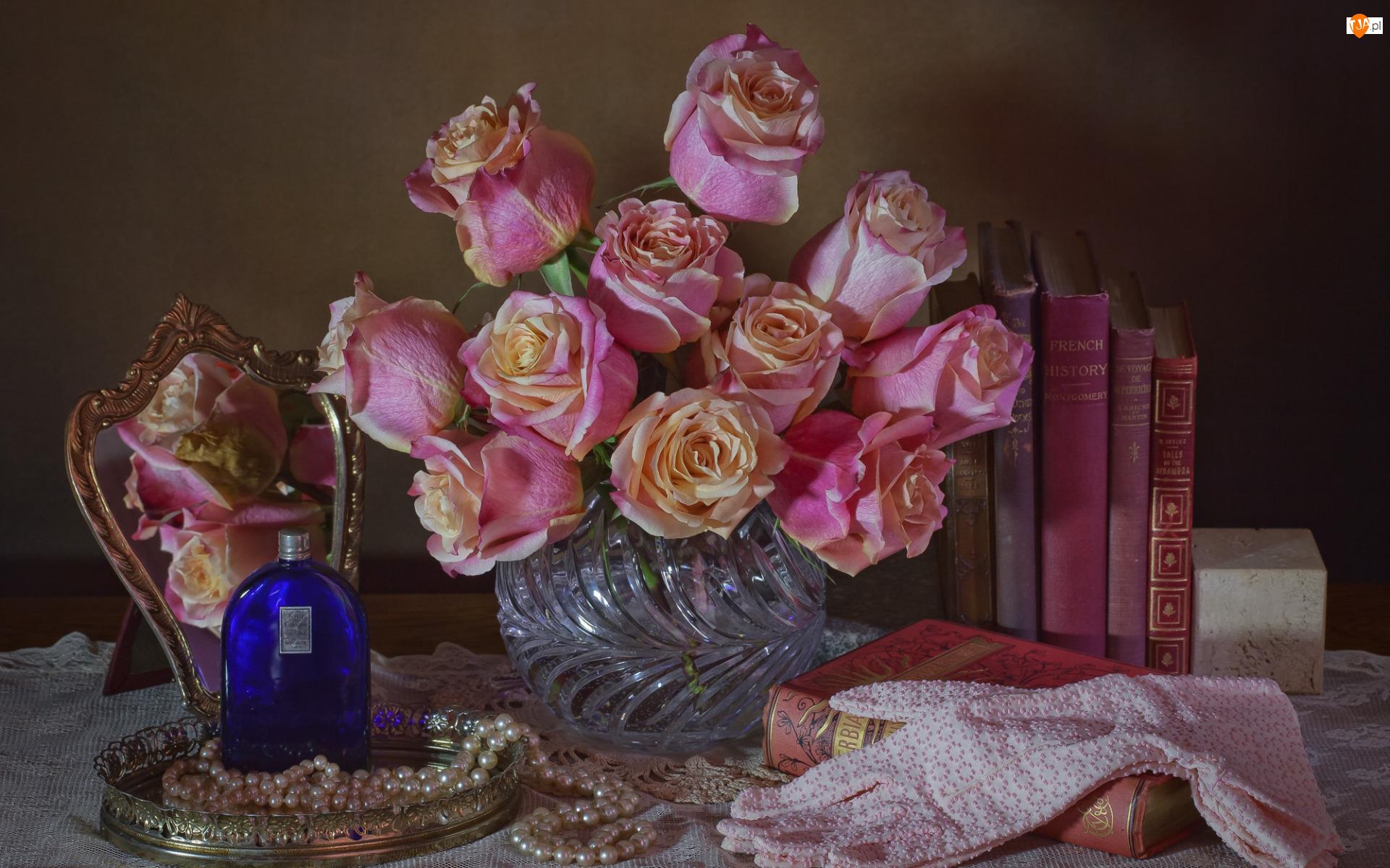 Lustro, Wazon, Książki, Perły, Bukiet, Perfum, Rękawiczki, Róże