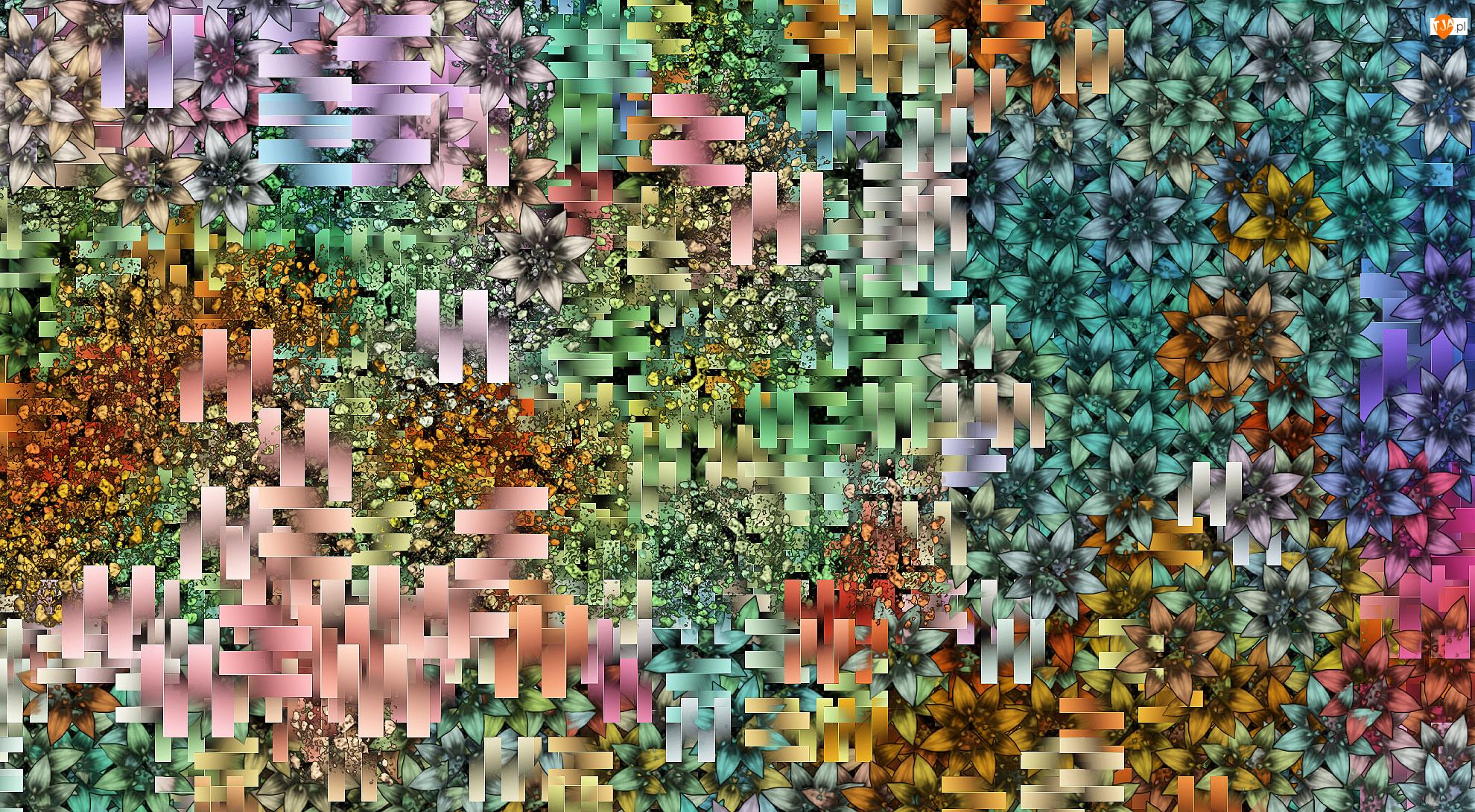 Prostokąty, Tekstura, Kwiaty