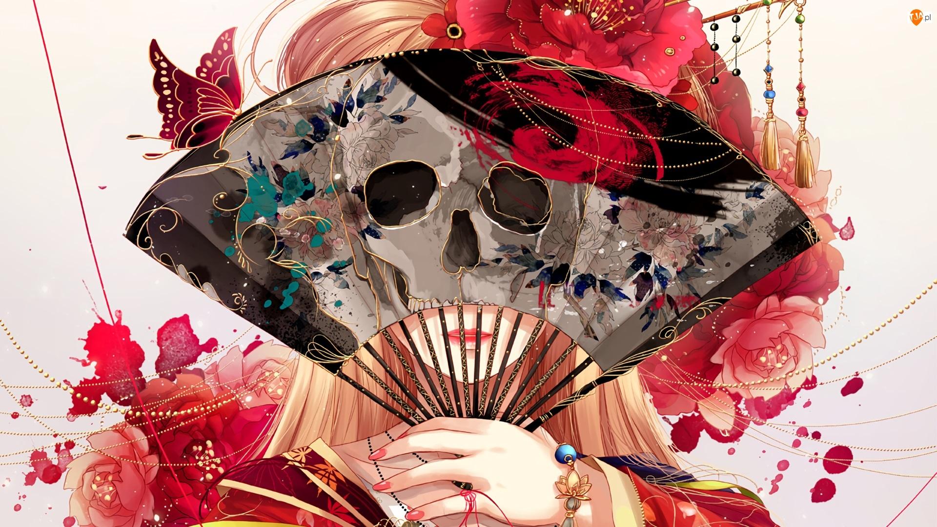 Wachlarz, Czaszka, Manga Anime, Dziewczyna, Motyl, Kwiaty, Czerwone