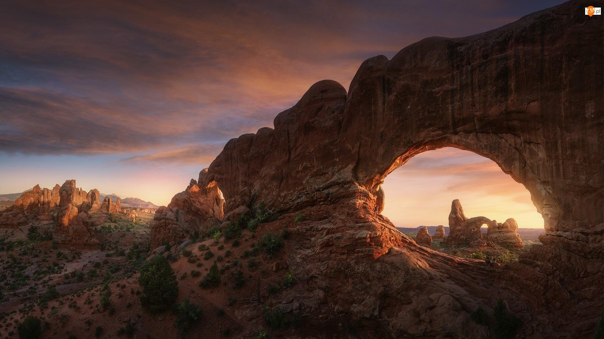 Łuk skalny, Park Narodowy Arches, Skały, Stany Zjednoczone, Double Arch, Stan Utah
