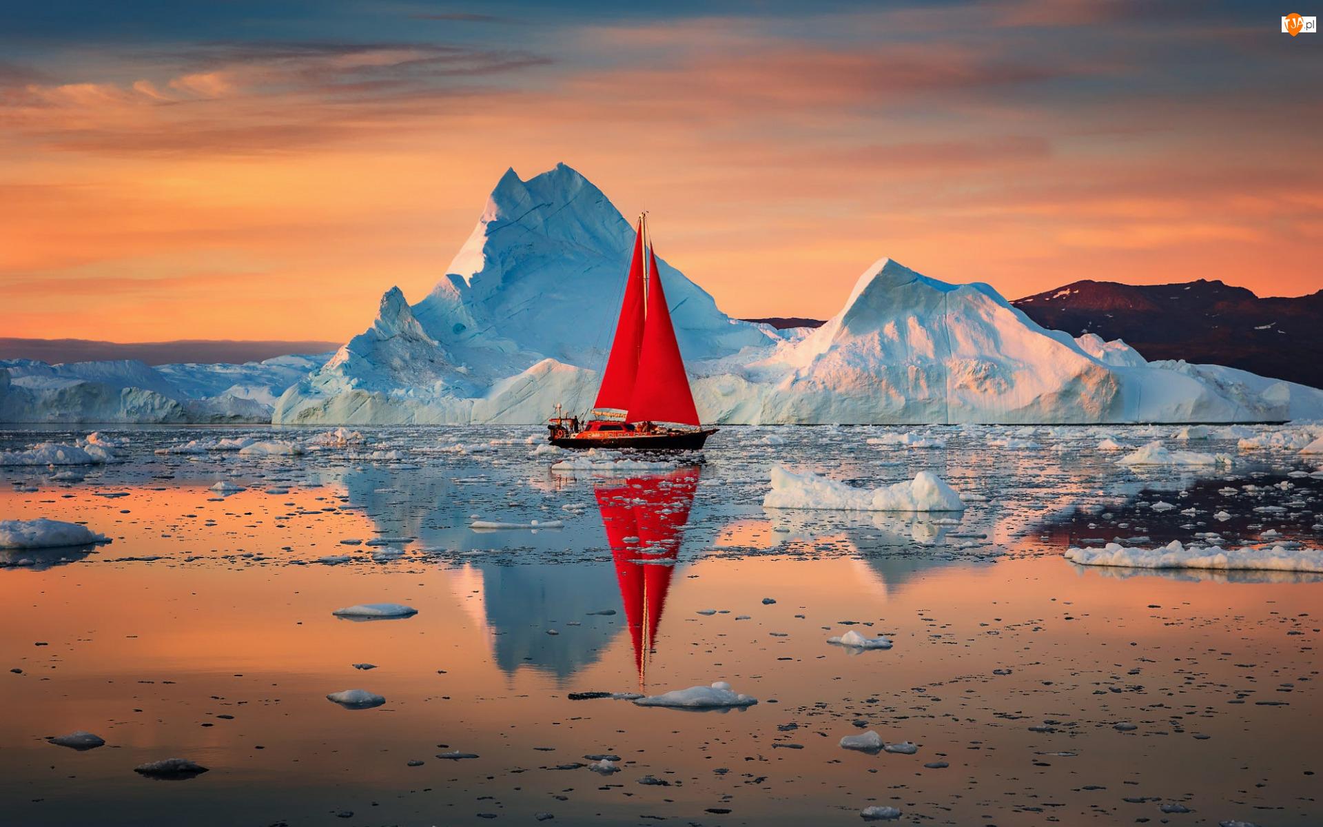 Morze, Odbicie, Żagle, Góry lodowe, Czerwone, Żaglówka, Wschód słońca