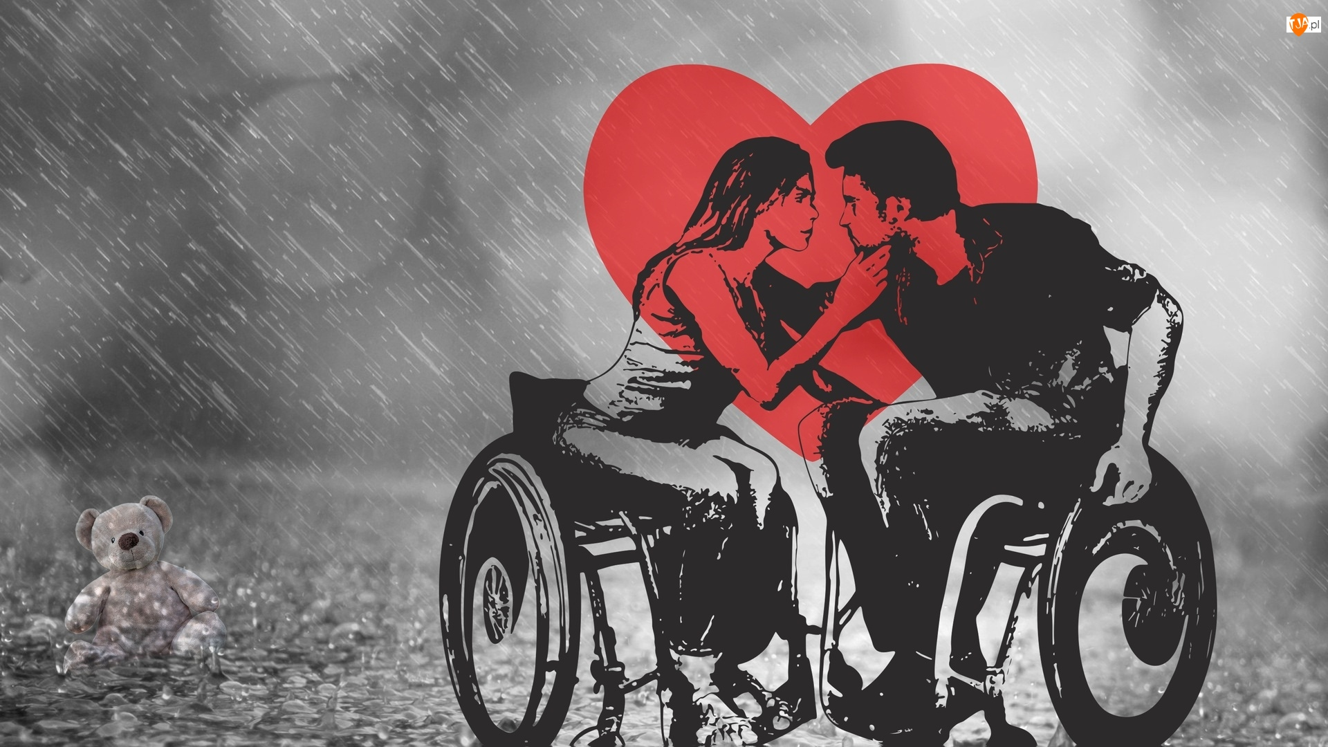 Zakochani, Wózki, Miś, Niepełnosprawni, Serce, Deszcz, Inwalidzkie