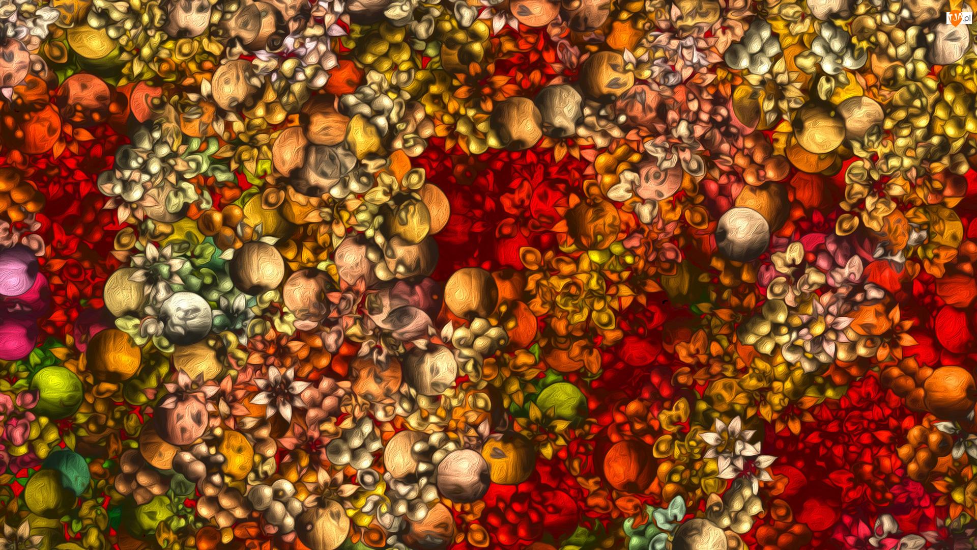 Tekstura, Kółka, Kolorowe, Pomarańczowo-czerwona