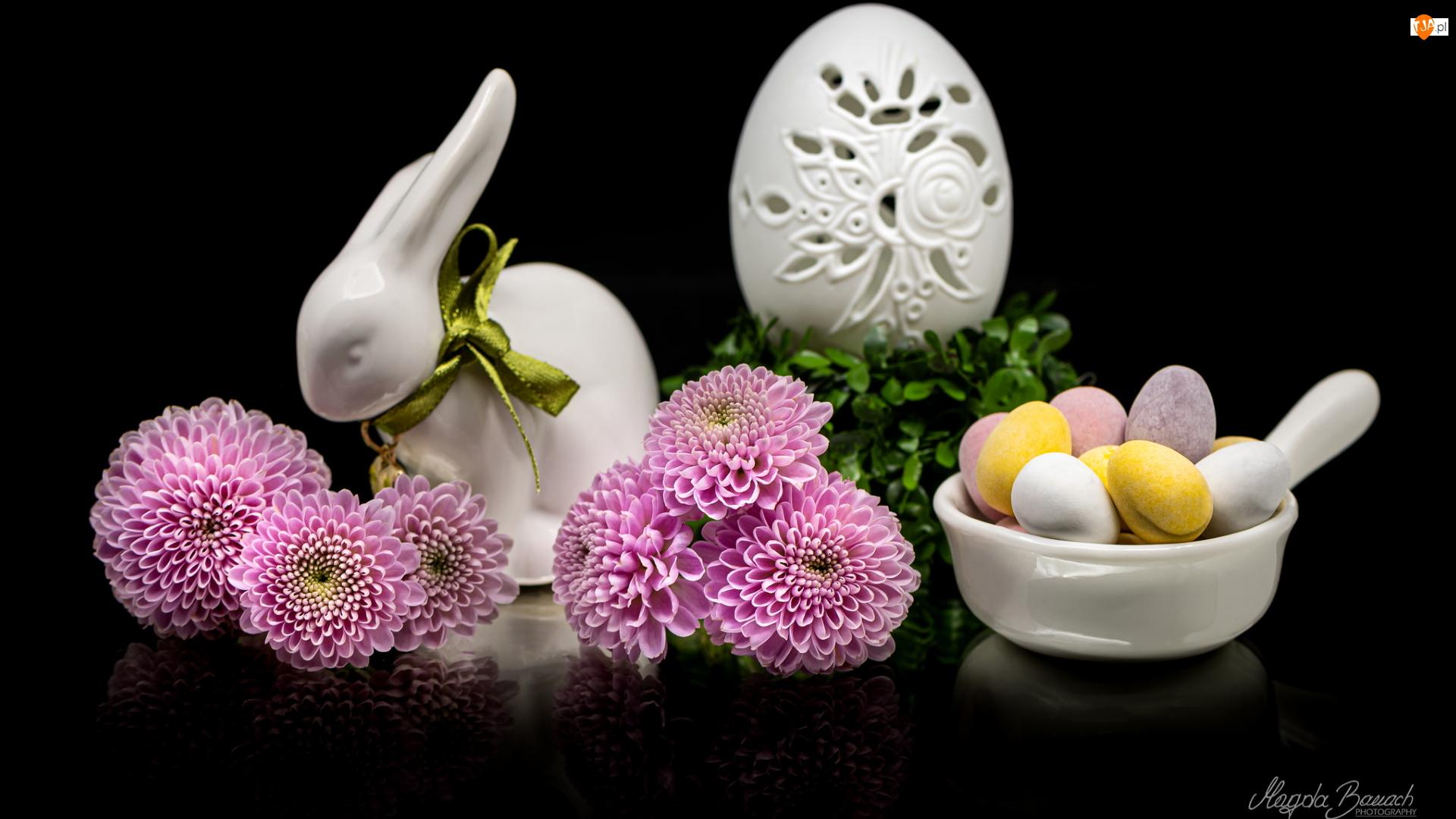 Kompozycja, Kwiaty, Zajączek, Wielkanoc, Jajeczka, Pisanka, Chryzantemy