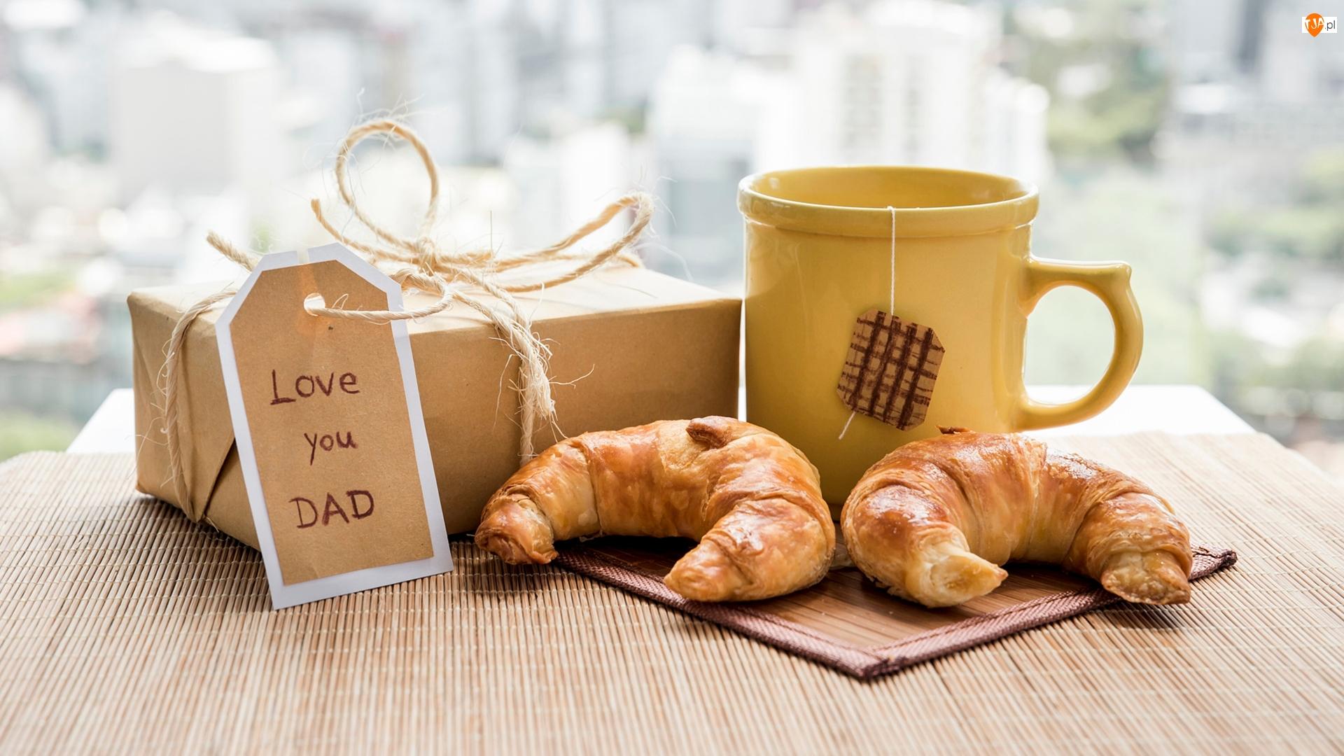 Rogaliki, Dzień Ojca, Napis, Kubek, Prezent, Love you Dad, Herbata, Zawieszka