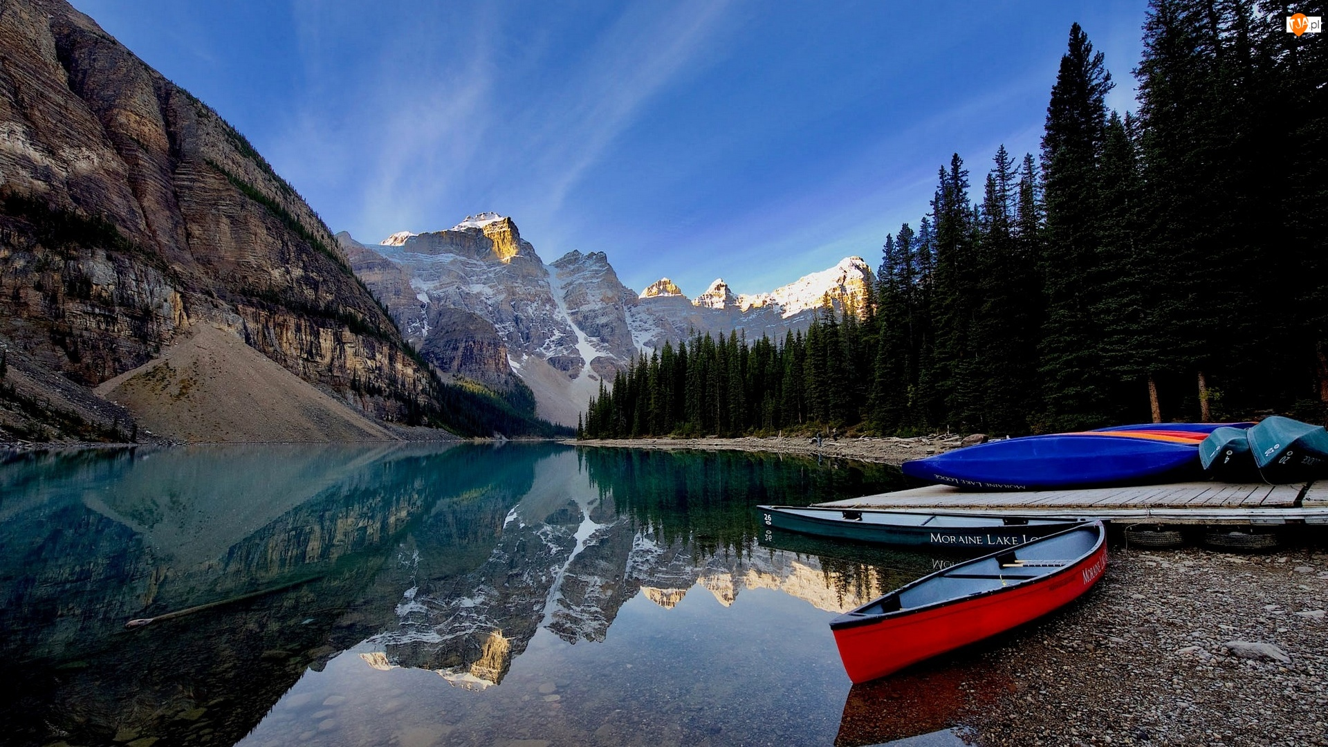 Kanada, Góry Skaliste, Alberta, Drzewa, Odbicie, Kajaki, Jezioro, Park Narodowy Banff, Moraine Lake