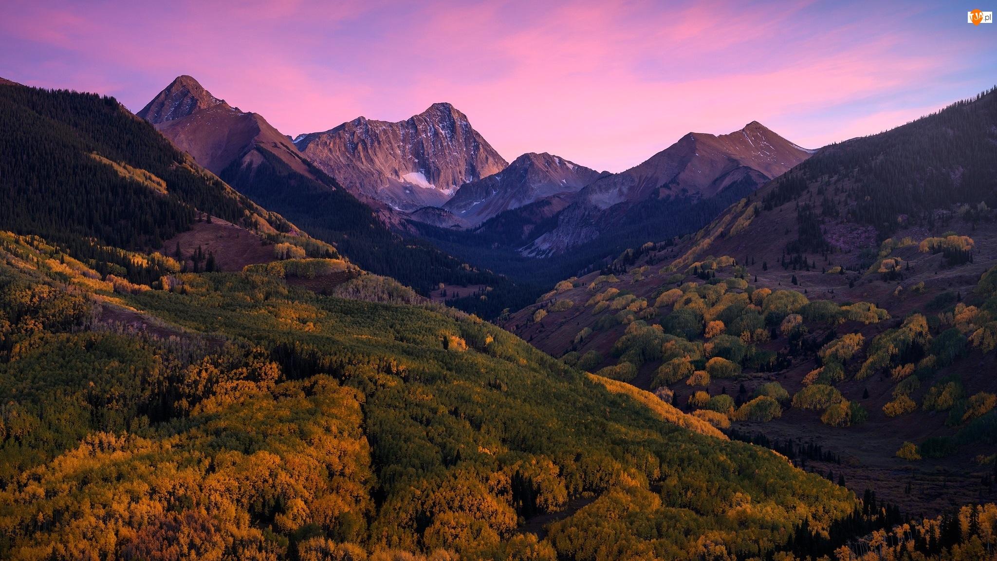 Zachód słońca, Góry, Las, Drzewa