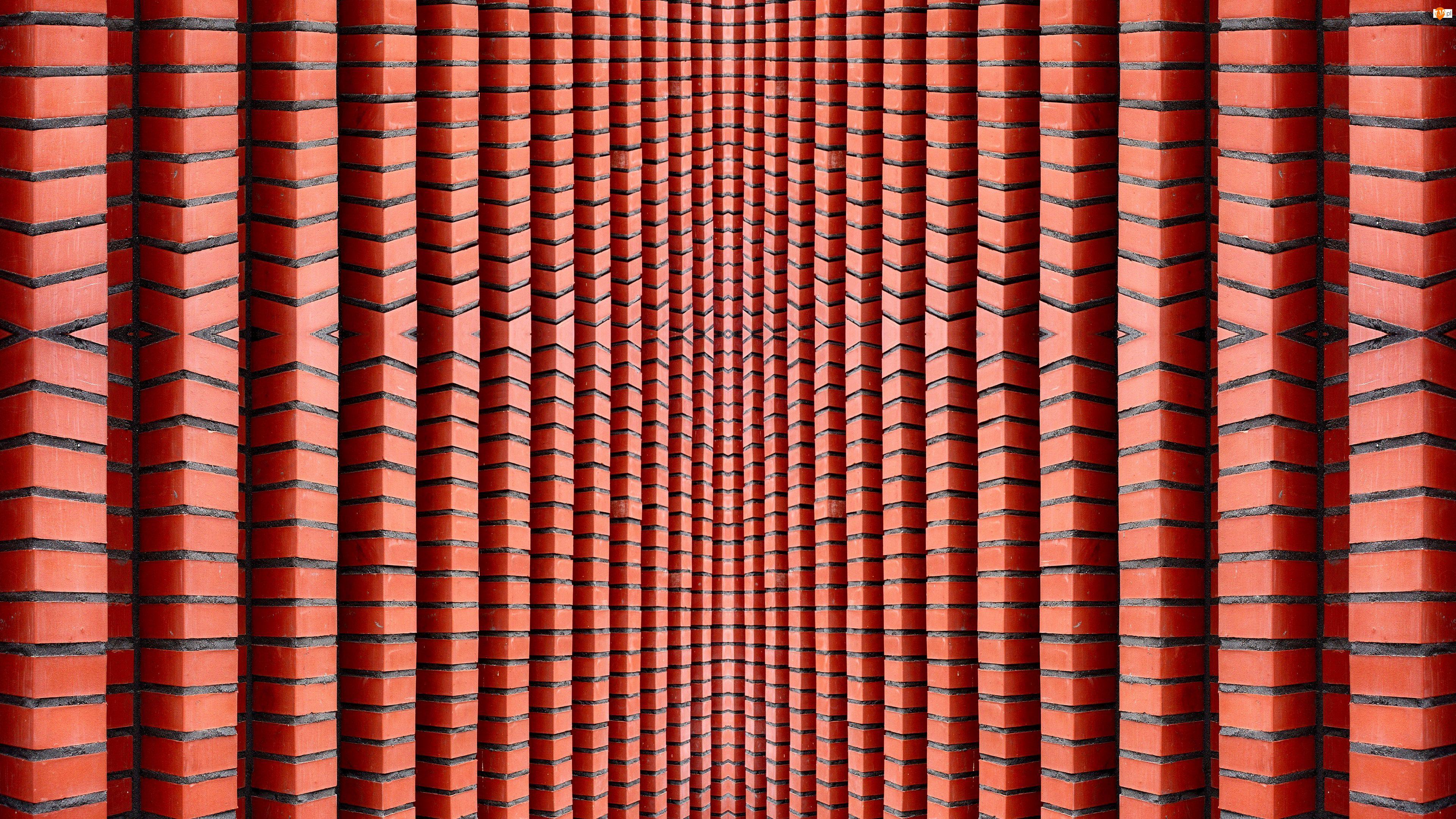 Czerwony, Cegły, Tekstura, Mur