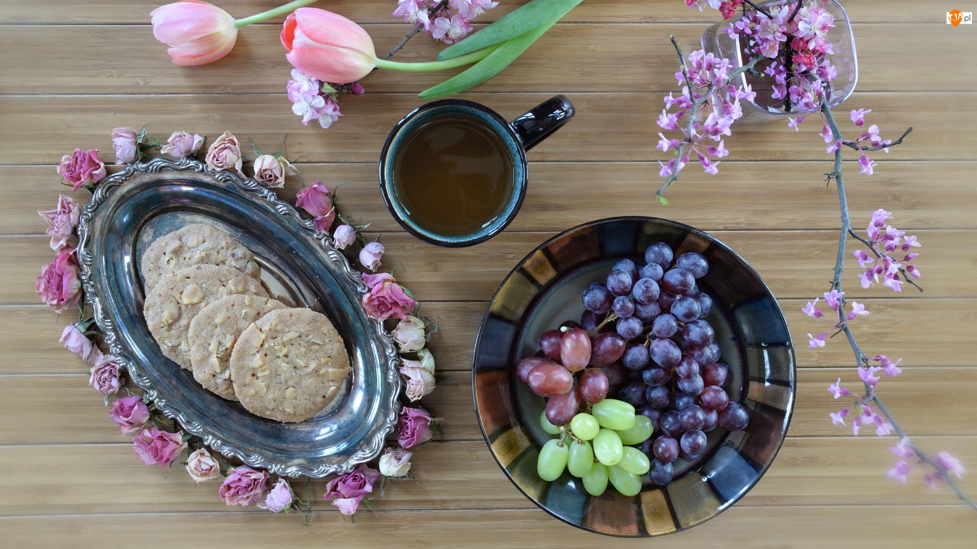 Kompozycja, Tulipany, Kawa, Winogrona, Ciasteczka, Gałęzie, Talerze, Kwiaty, Owoce