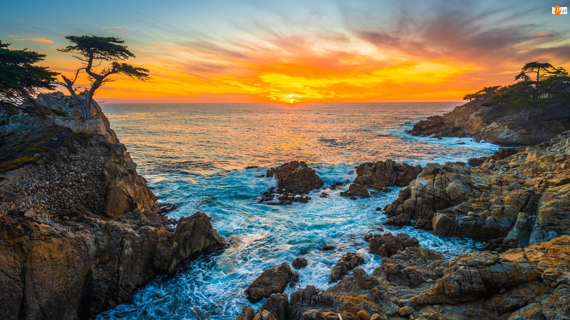 Stany Zjednoczone, Atrakcja Lone Cypress, Kalifornia, Pebble Beach, Zatoka Monterey, Skała, Morze, Cyprys wielkoszyszkowy, Zachód słońca