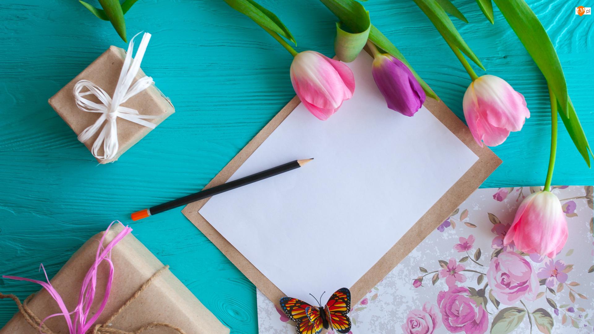 Prezenty, Ołówek Kwiaty, Pudełka, Papier, Opakowane, Tulipany, Motylek, Notes, Kolorowy