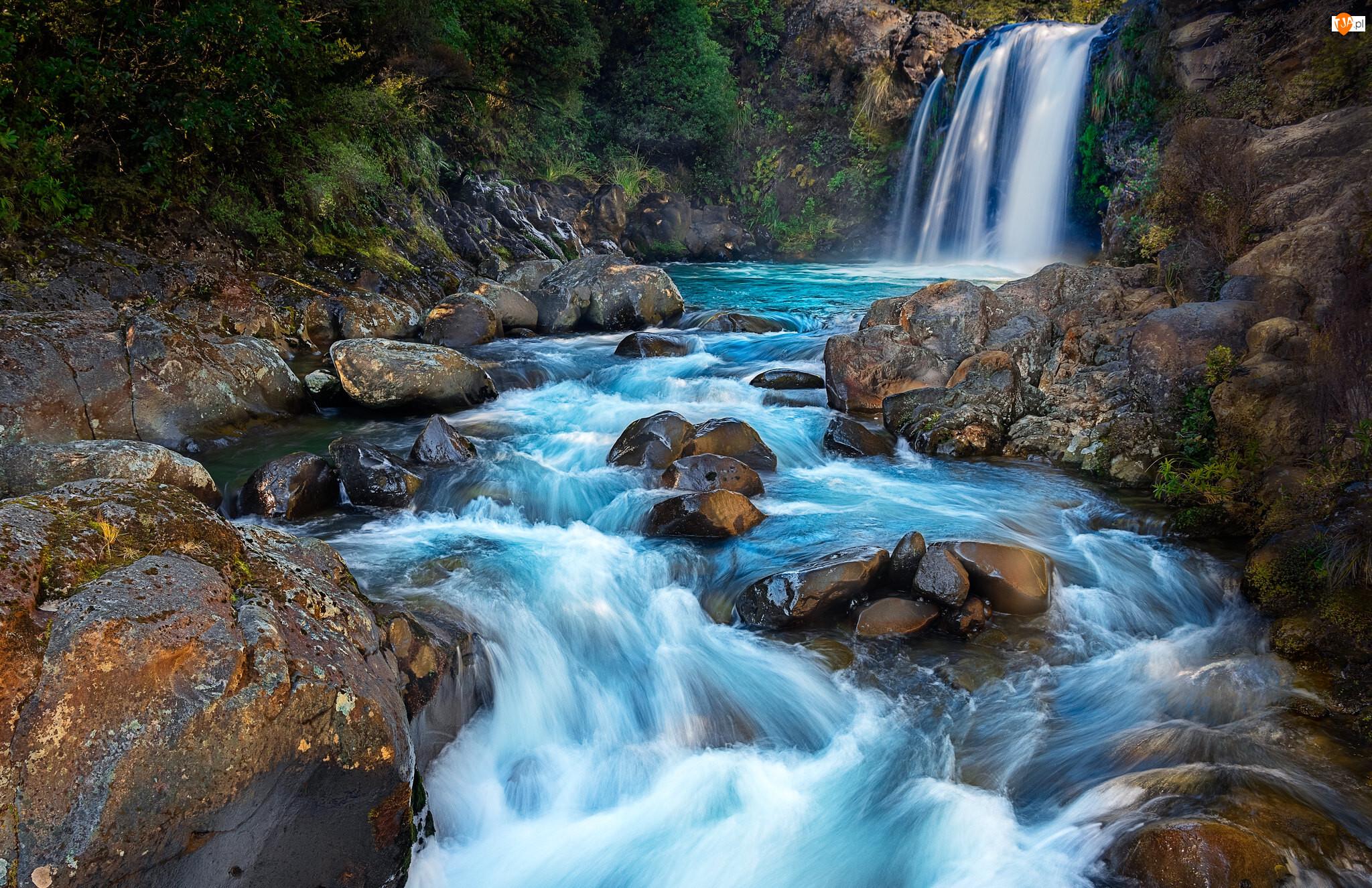 Tawhai Falls, Wodospad, Park Narodowy Tongariro, Nowa Zelandia, Rzeka, Skały
