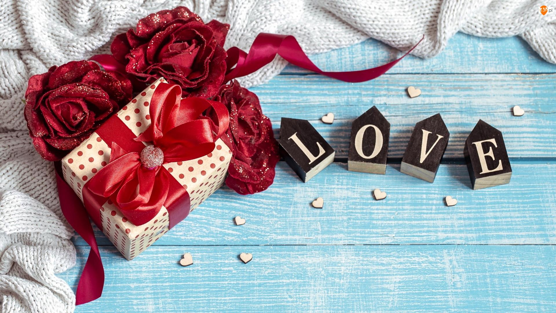 Walentynki, Róże, Deski, Love, Niebieskie, Sweter, Klocki, Sztuczne, Napis