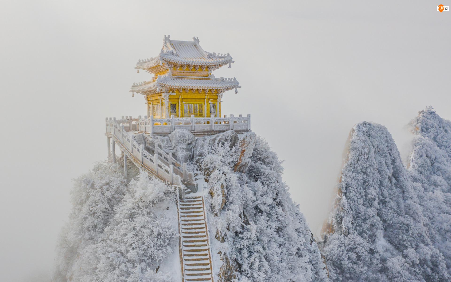 Schody, Drabina, Mróz, Świątynia, Śnieg, Zima, Skały