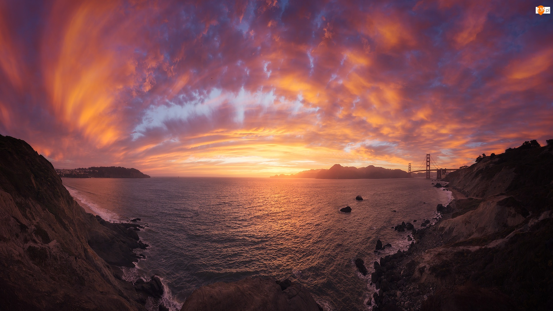 Cieśnina Golden Gate, Stany Zjednoczone, Most, Chmury, Kalifornia, Golden Gate Bridge, Zachód słońca, San Francisco