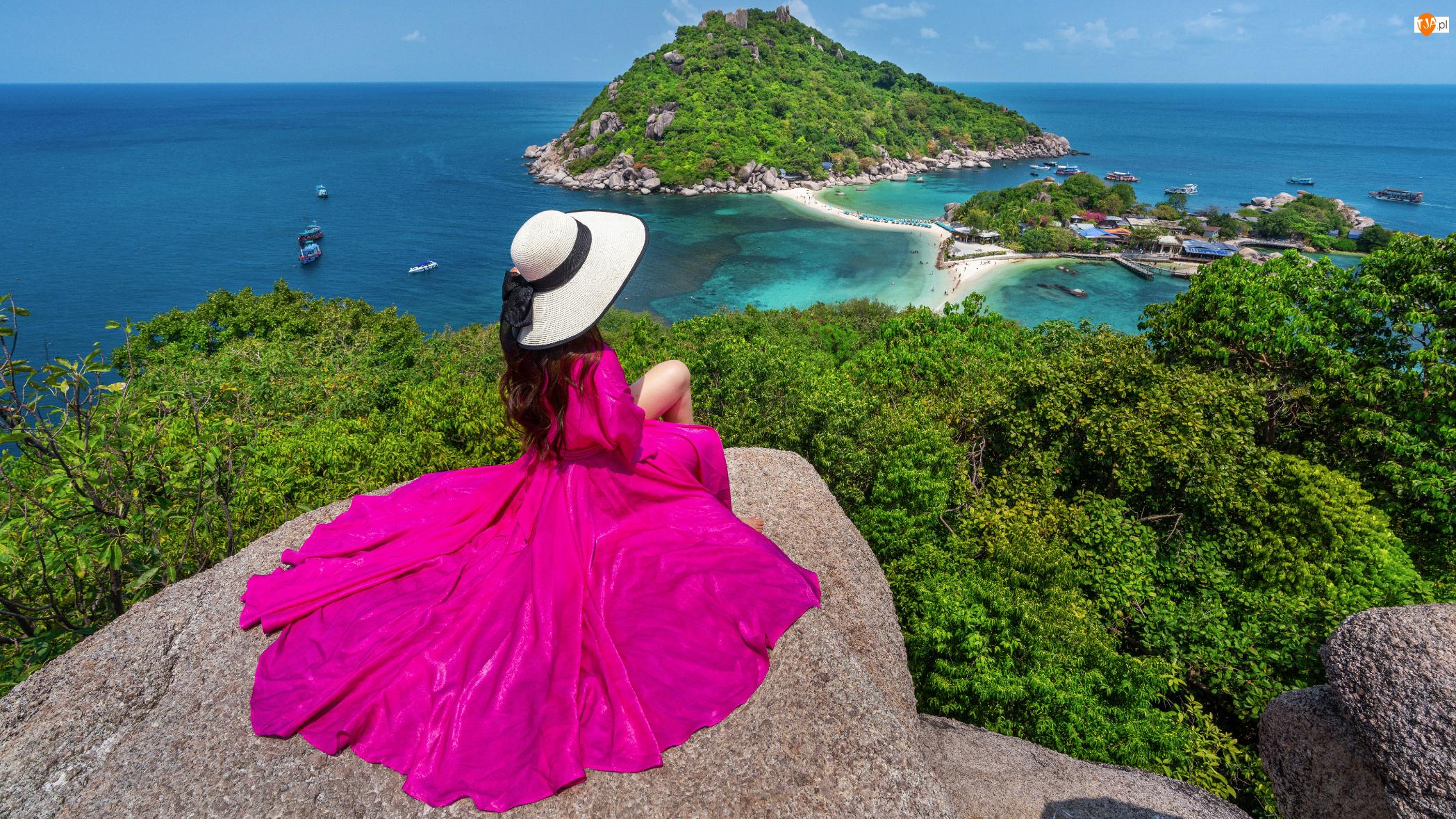 Tajlandia, Kapelusz, Wyspy, Skały, Morze Andamańskie, Różowa, Sukienka, Kobieta, Drzewa