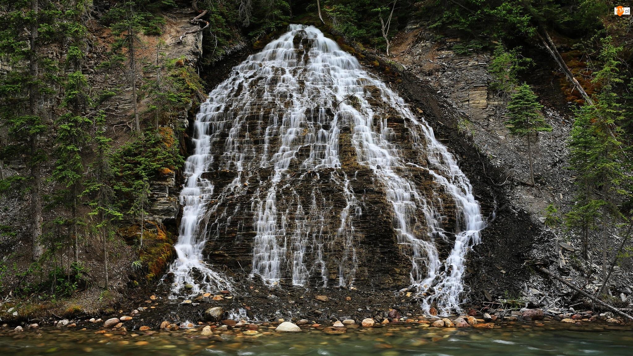 Kamienie, Drzewa, Wodospad, Skały, Rzeka