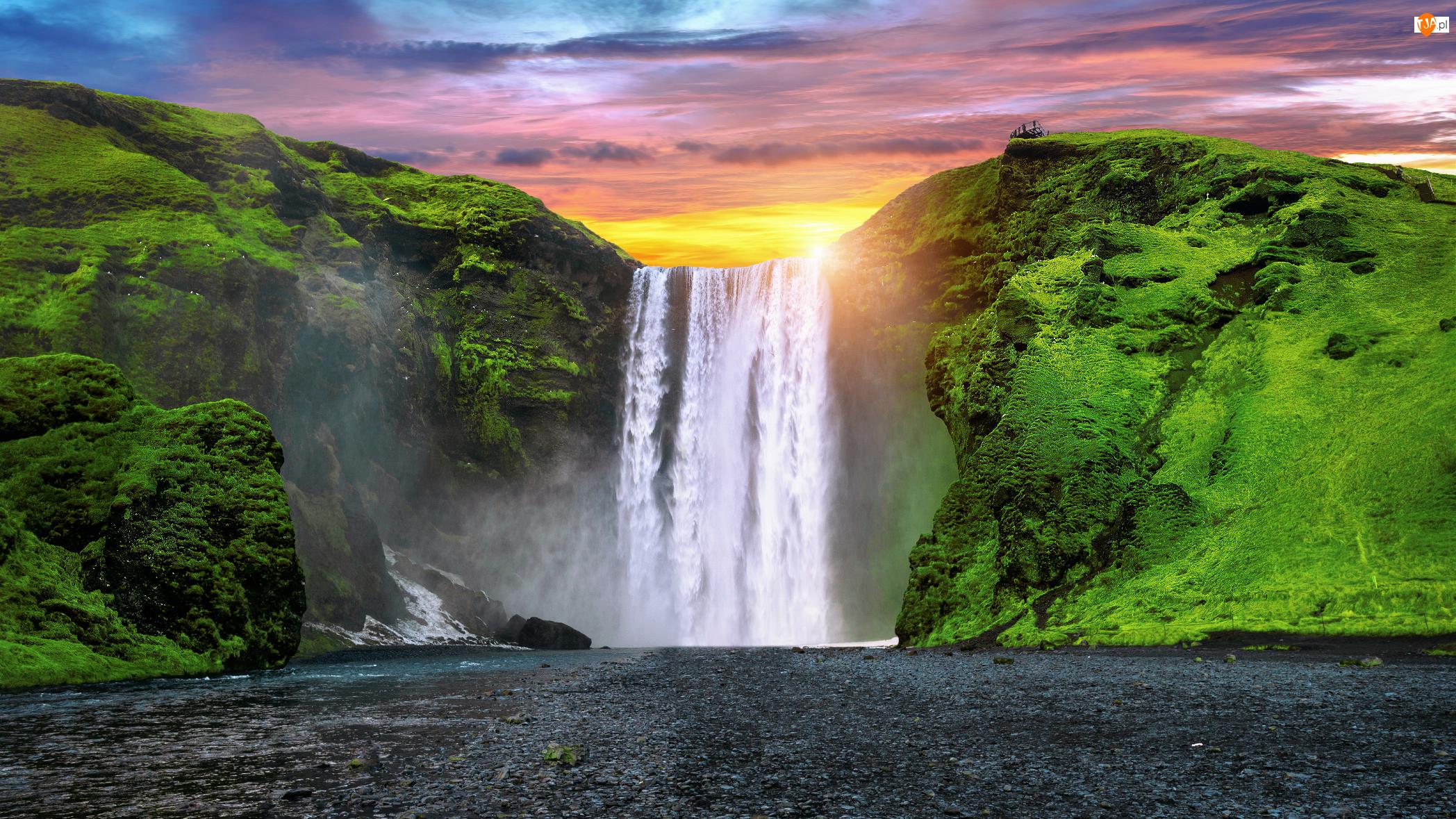 Rzeka Skoga, Islandia, Skogafoss, Wodospad, Roślinność
