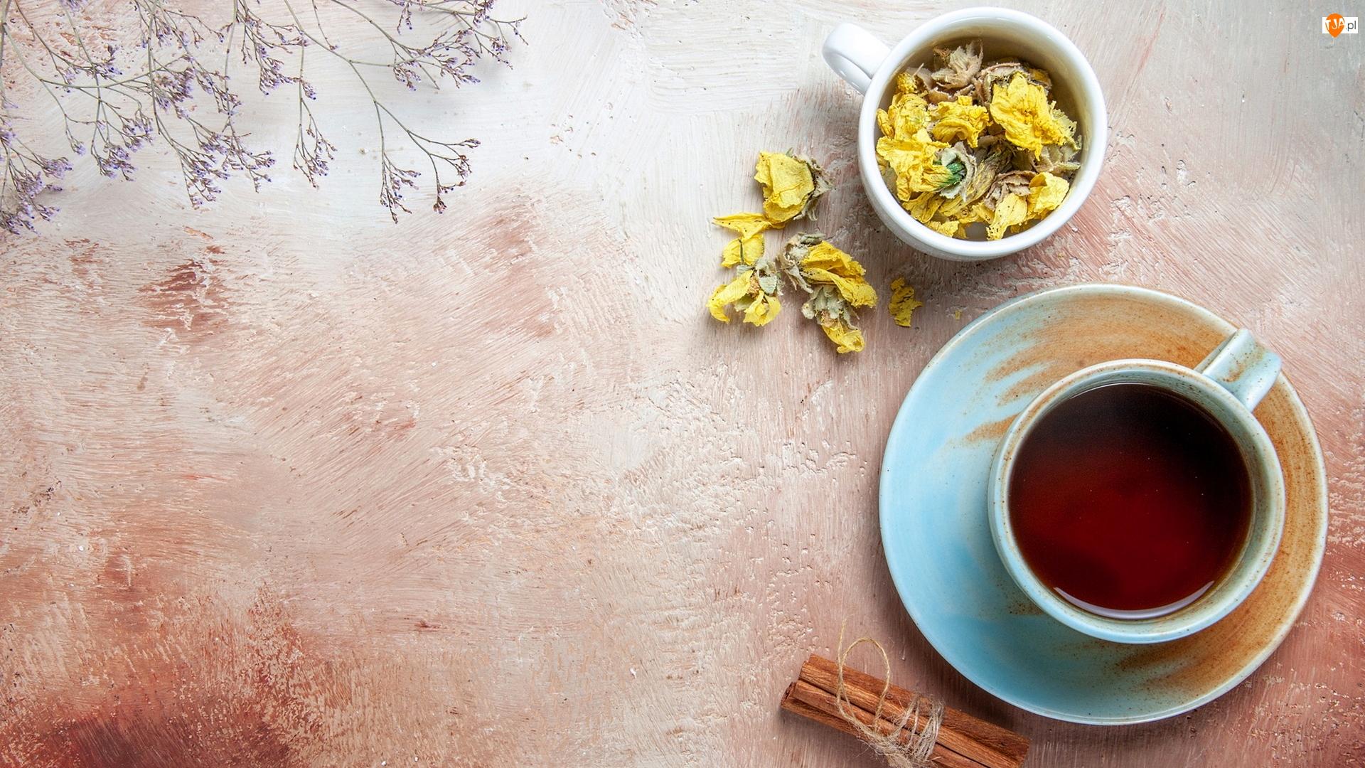 Cynamon, Kwiaty, Filiżanki, Herbata, Suche