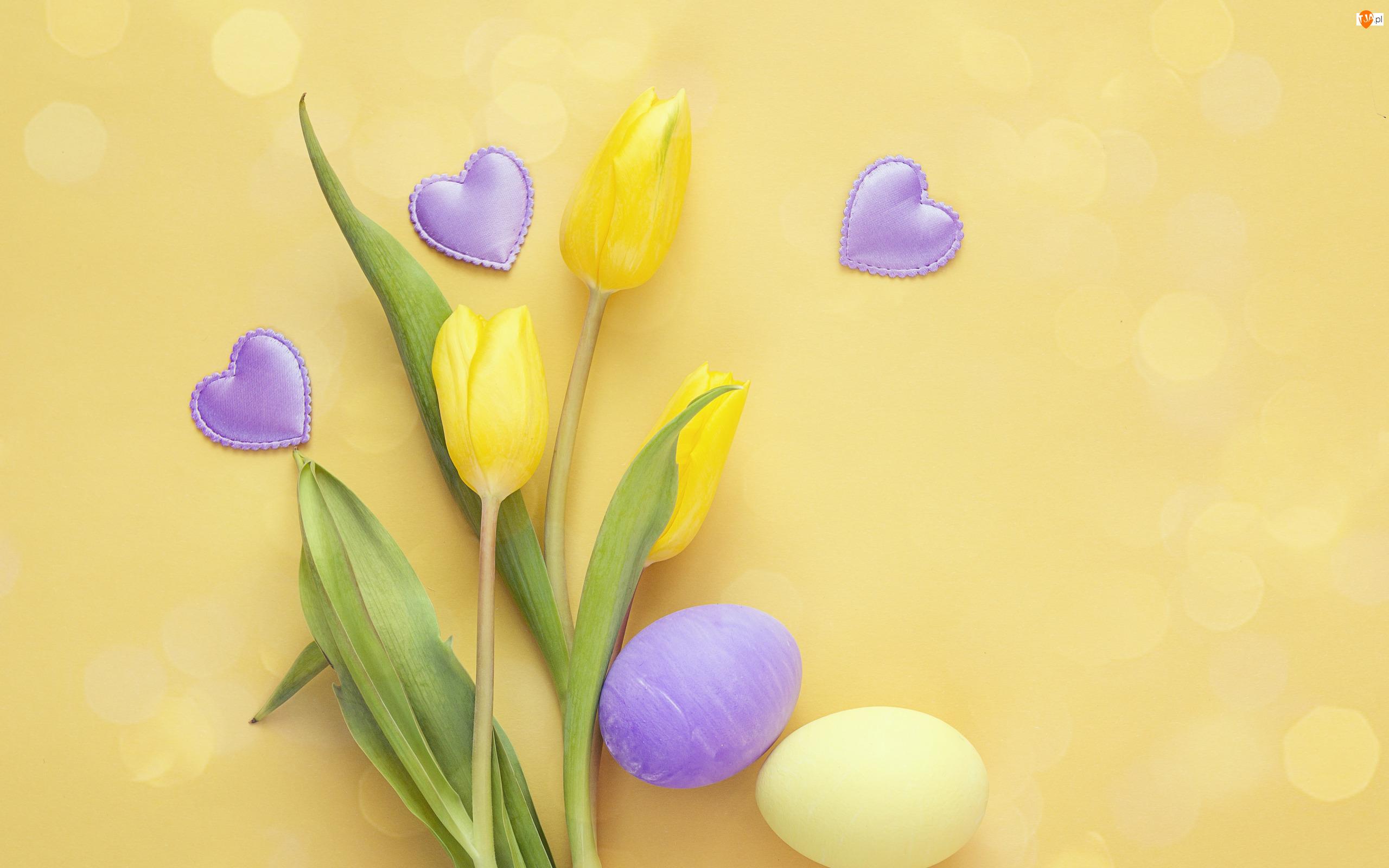 Pisanki, Wielkanoc, Żółte, Serca, Kwiaty, Tulipany