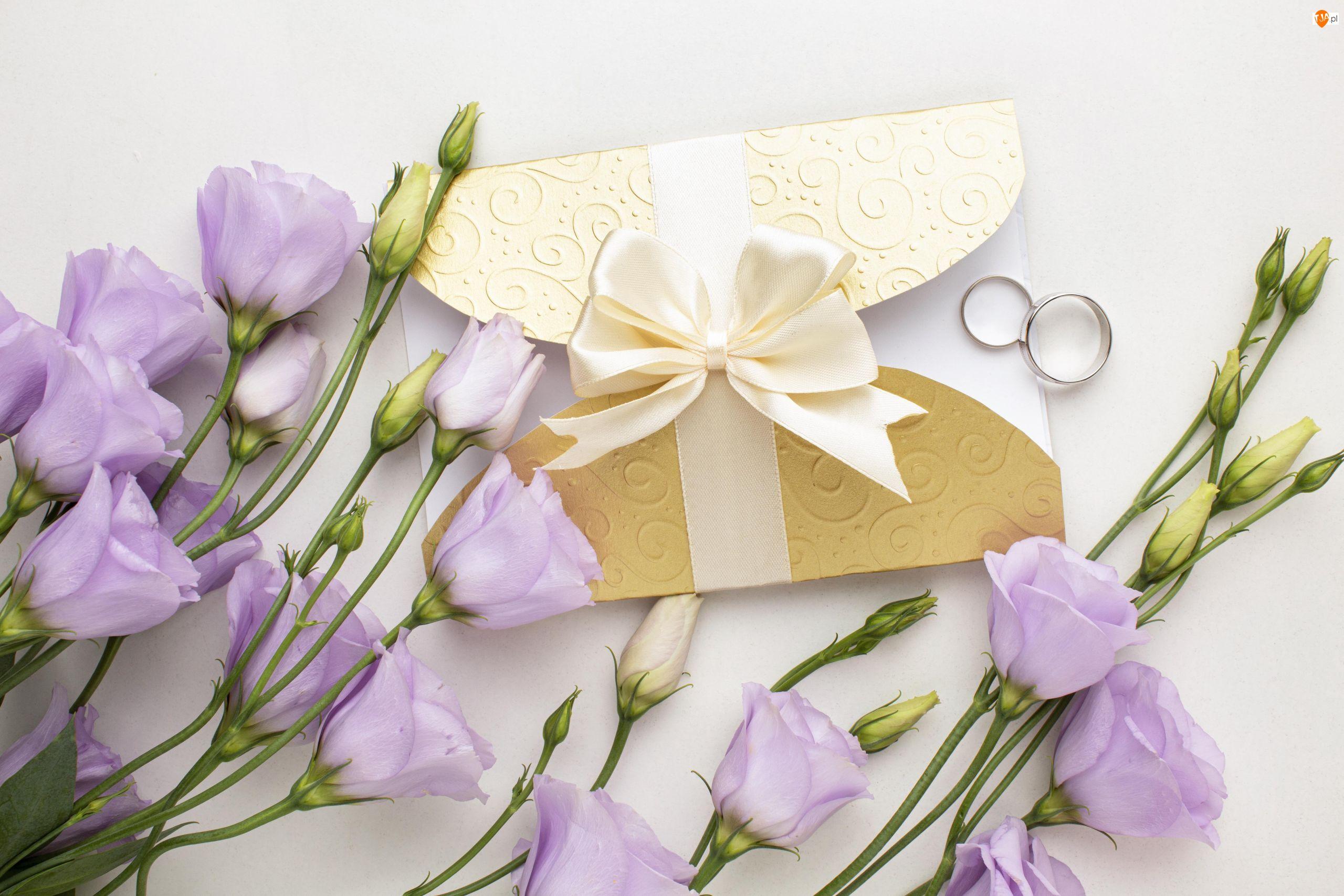 Zaproszenie, Ślubne, Kwiaty, Eustomy, Obrączki, Fioletowe