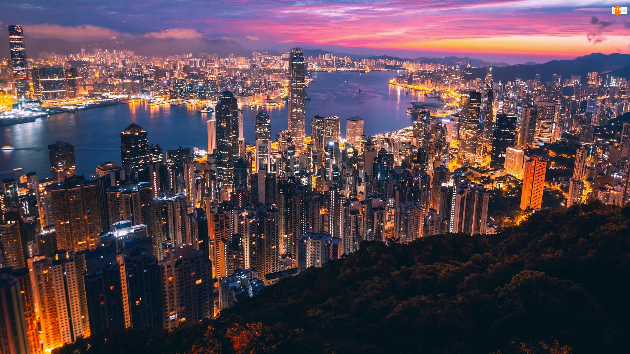 Noc, Oświetlone, Chiny, Hongkong, Port Wiktorii, Zatoka Wiktorii, Wieżowce