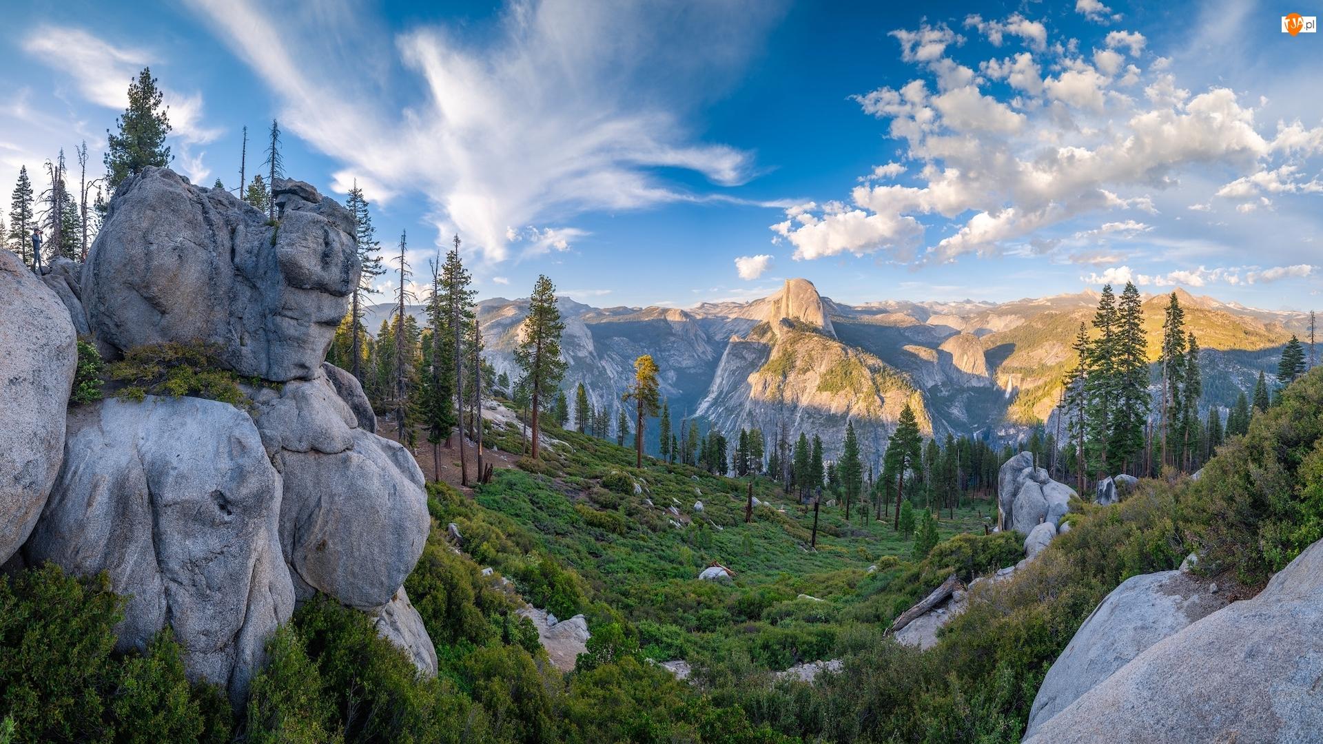Yosemite Valley, Sierra Nevada, Park Narodowy Yosemite, Drzewa, Glacier Point, Kalifornia, Góry, Punkt widokowy, Skały, Dolina, Stany Zjednoczone