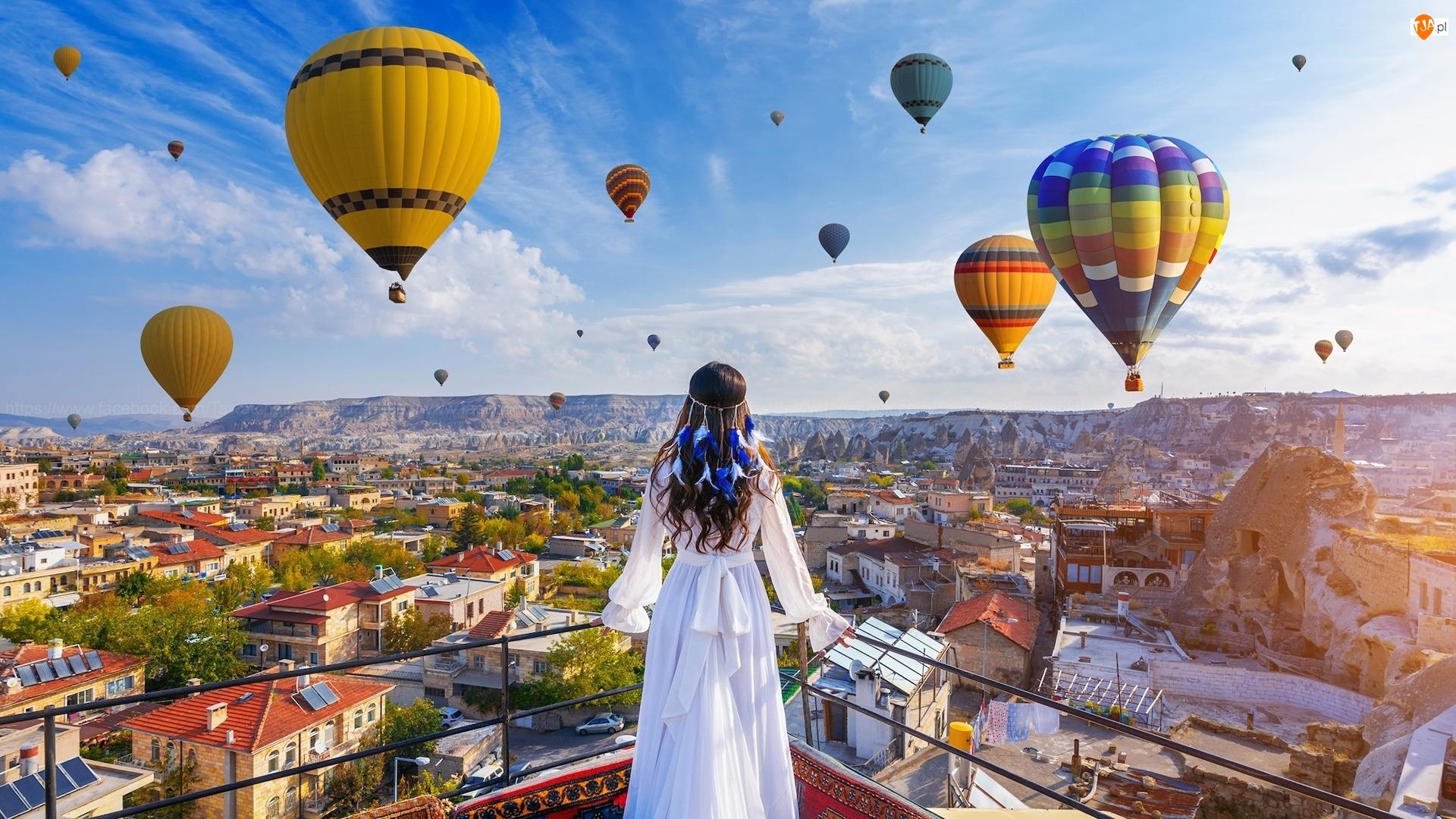 Balkon, Turcja, Balony, Dziewczyna, Kapadocja