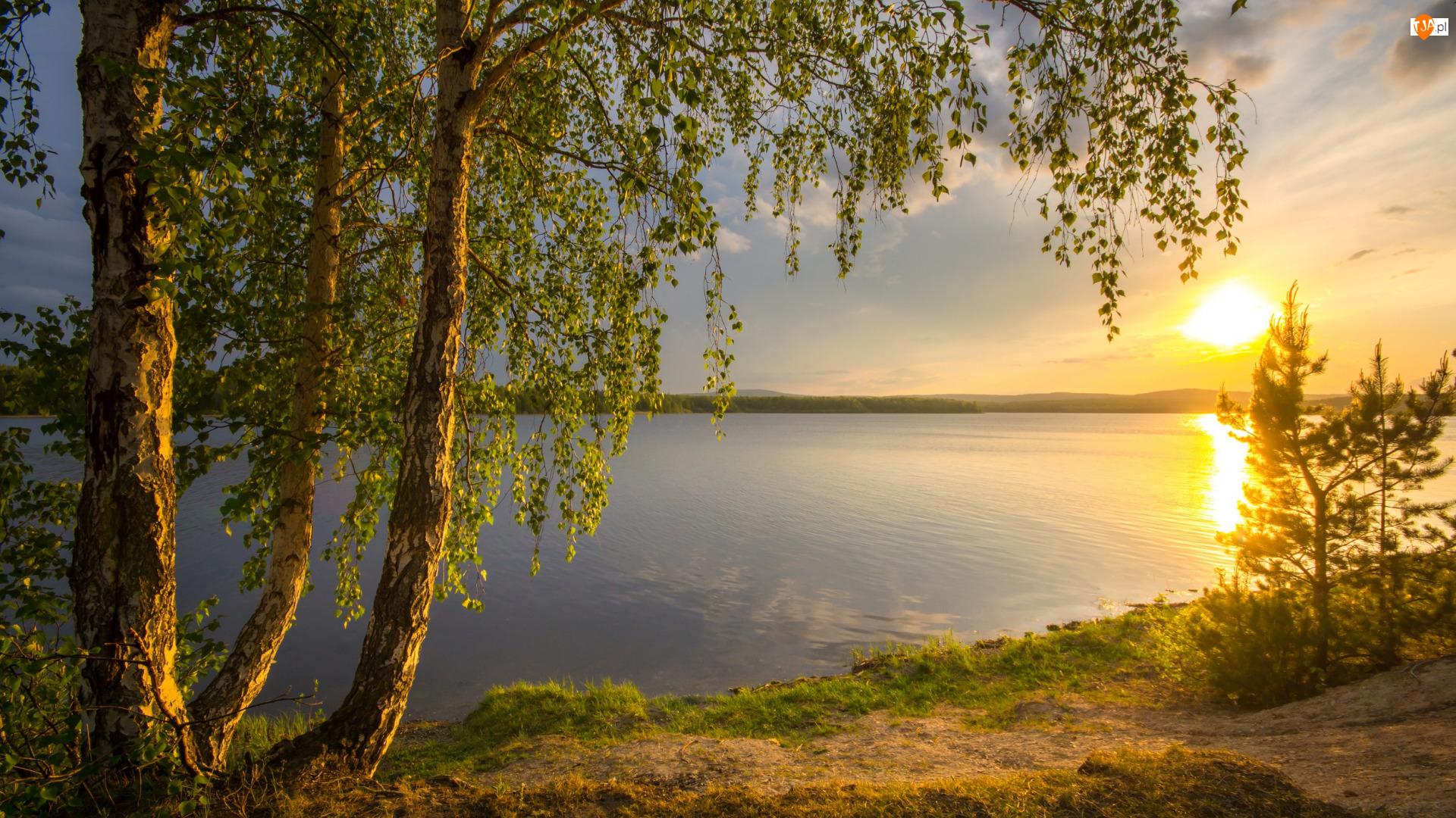 Zachód słońca, Brzozy, Jezioro