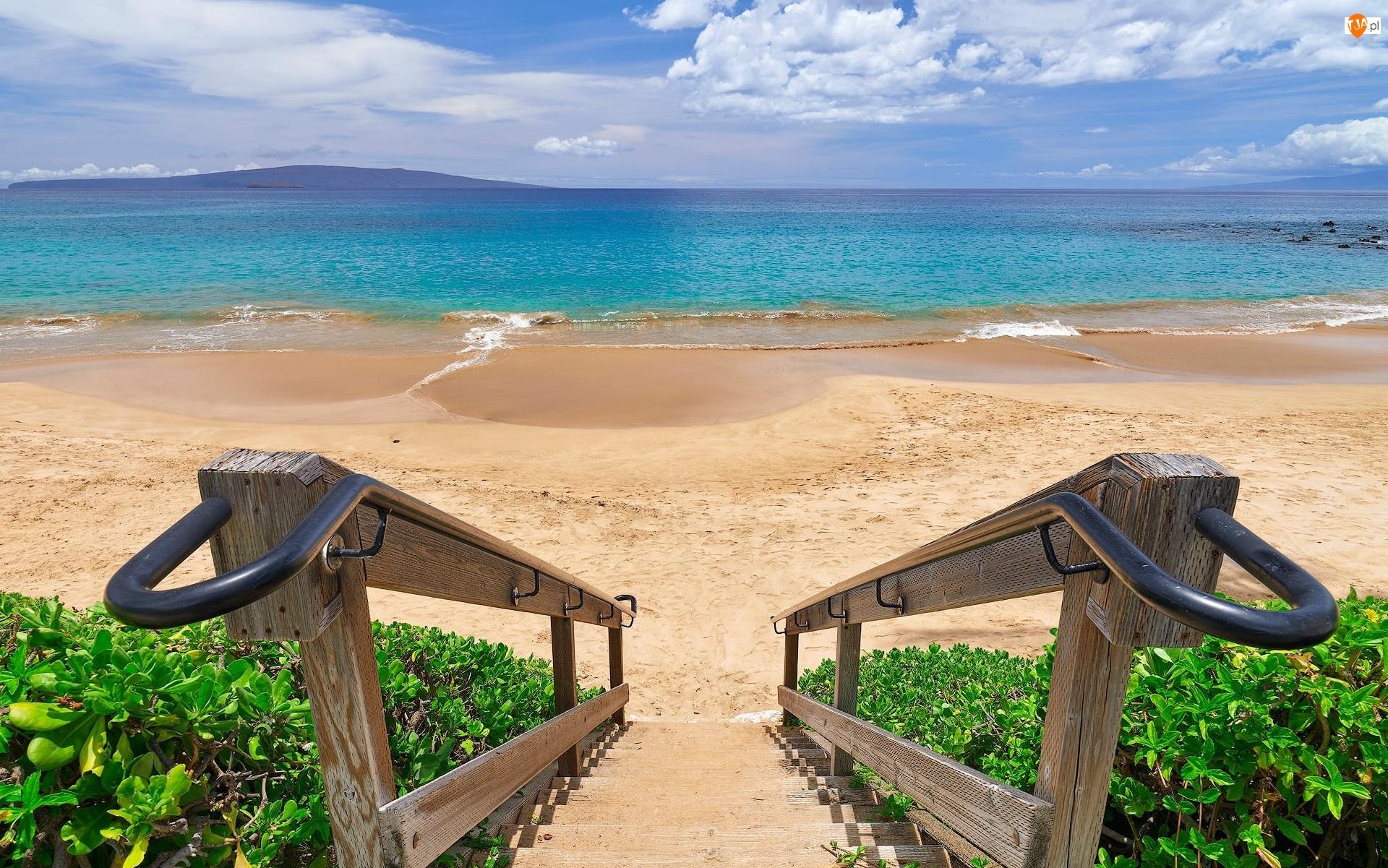 Schody, Chmury, Plaża, Morze, Roślinność