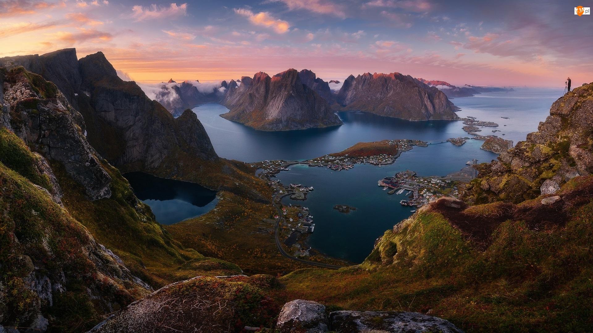 Lofoty, Norwegia, Morze Północne, Wioski, Góry, Domy