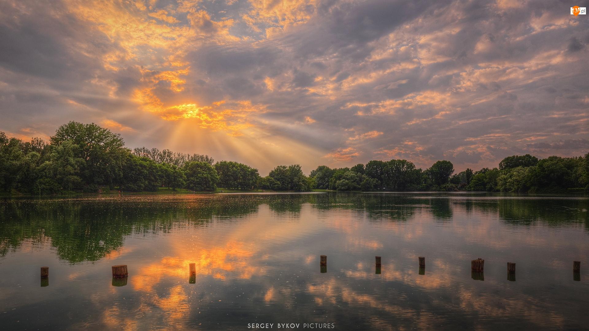 Wschód słońca, Jezioro, Kołki, Drzewa