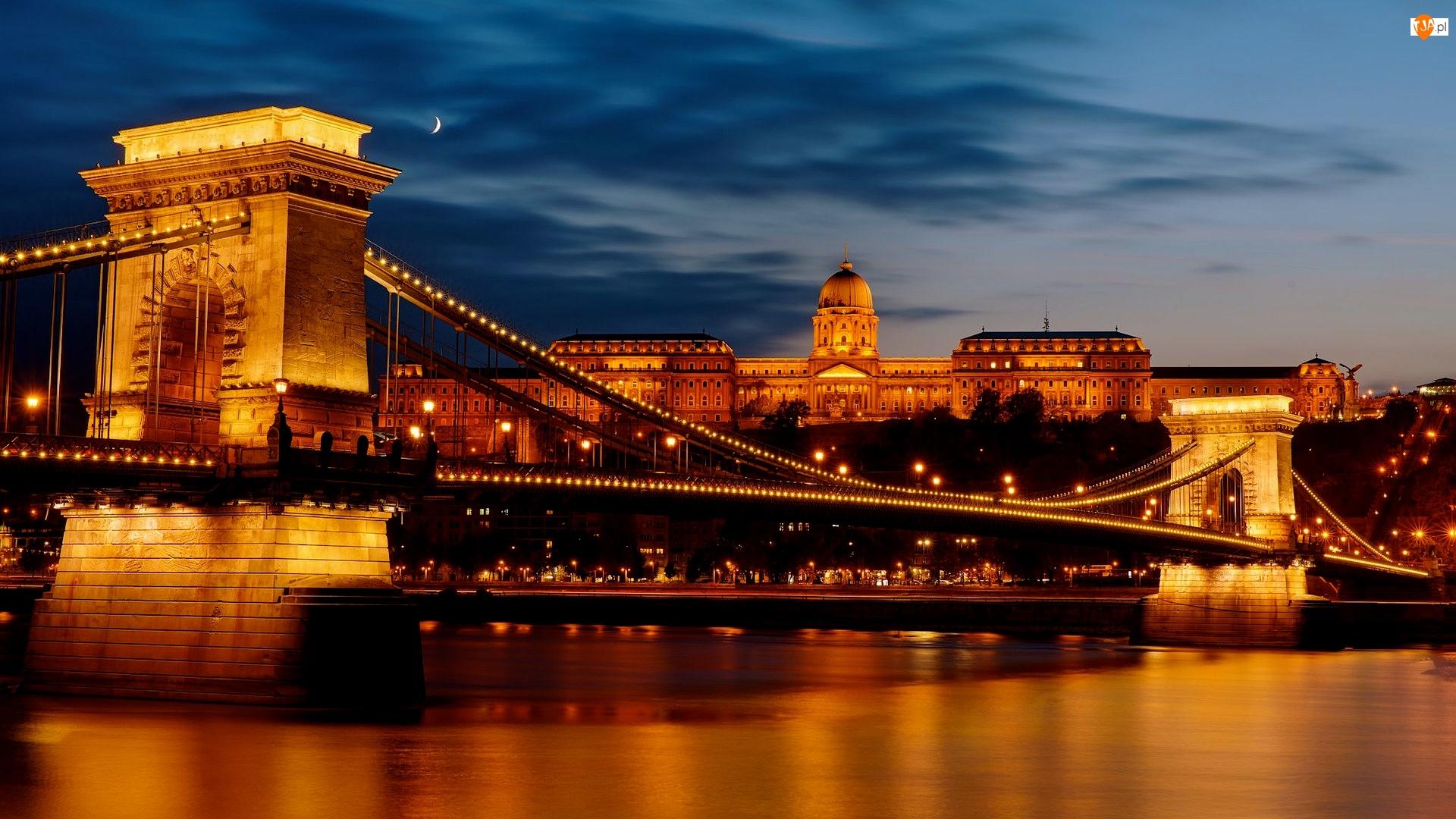 Budapeszt, Rzeka Dunaj, Światła, Węgry, Noc, Parlament, Most Łańcuchowy