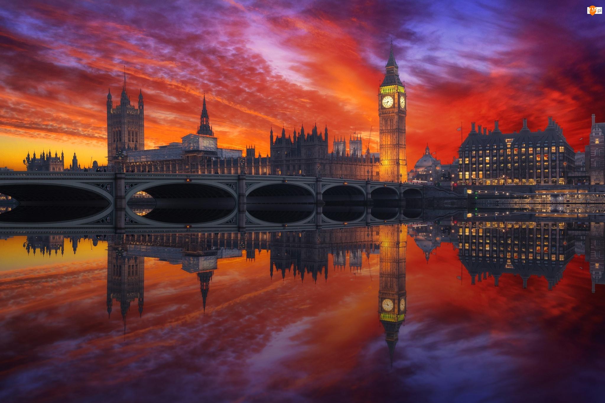 Big Ben, Wielka Brytania, Most, Zachód słońca, Anglia, Westminster, Rzeka Tamiza, Londyn