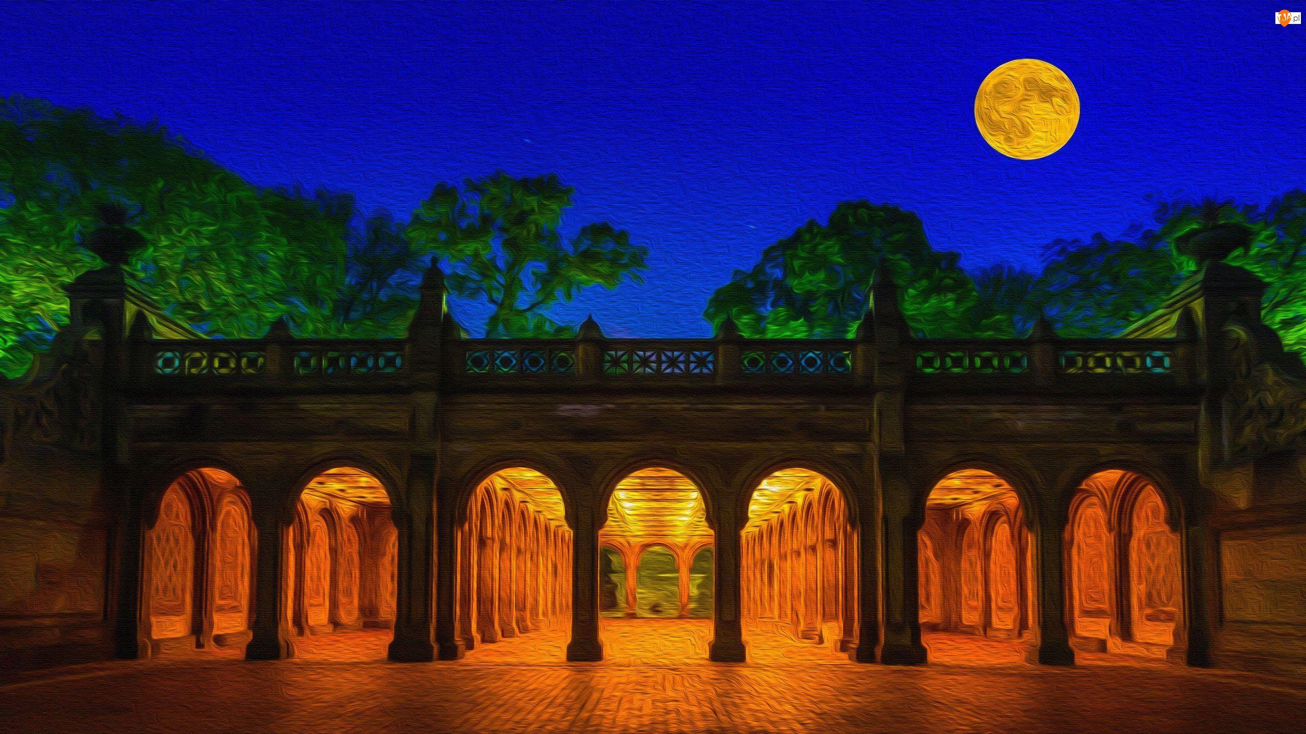 Stany Zjednoczone, Taras, Nowy Jork, Księżyc, Central Park, Bethesda Terrace, Noc, Grafika, Drzewa