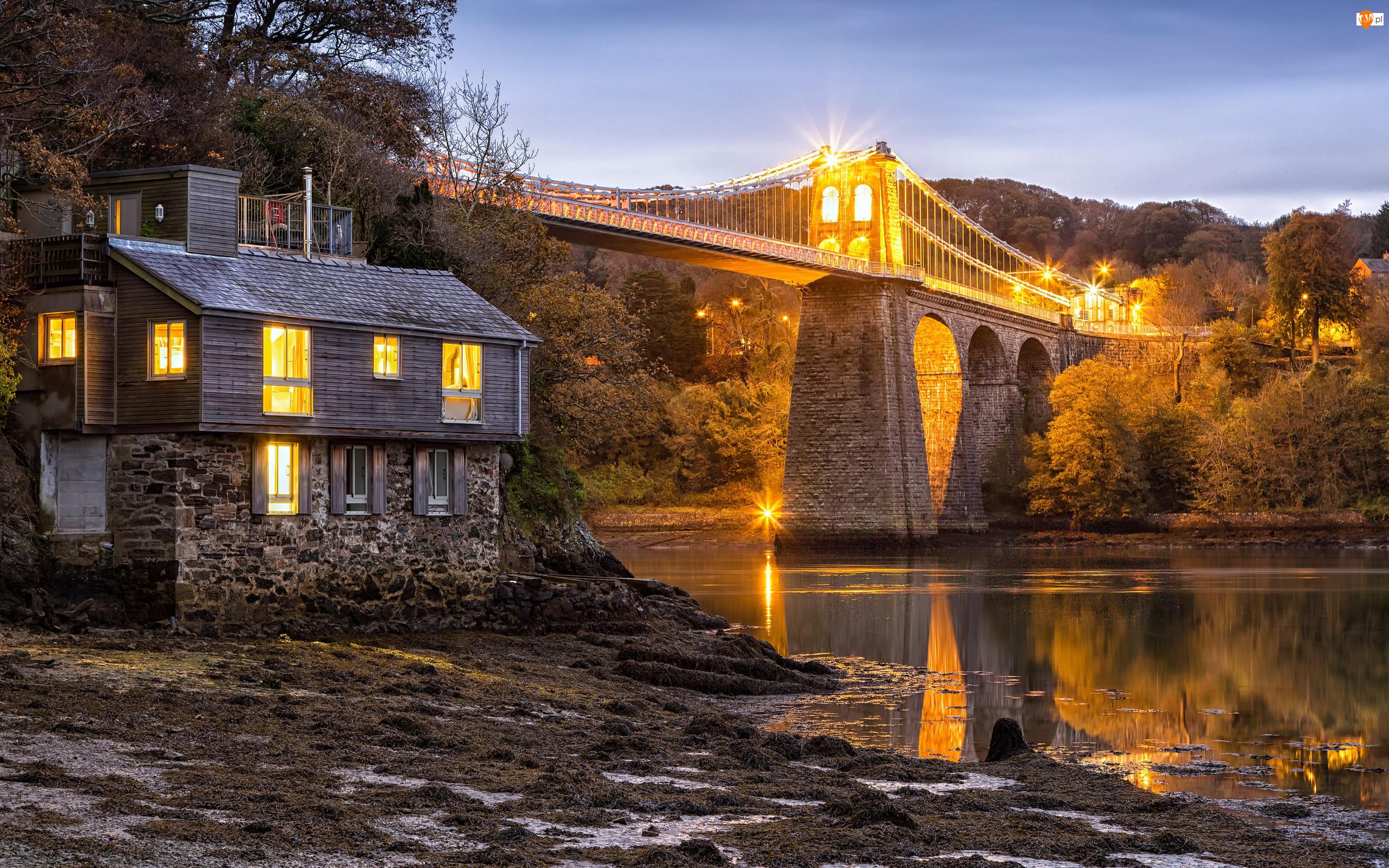 Dom, Anglia, Menai Suspension Bridge, Światło, Walia, Rzeka, Drzewa, Most