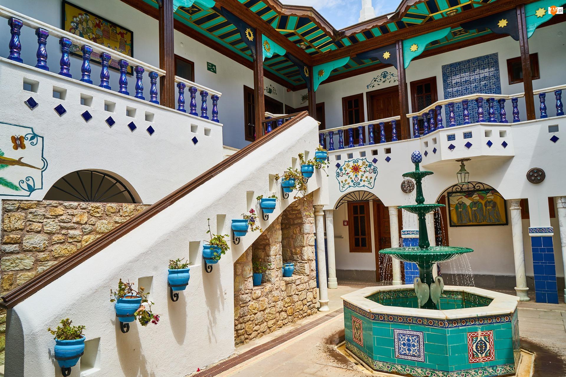Dziedziniec, Fontanna, Turcja, Hotel, Marmaris, Perili Bay Resort Hotel, Krużganki