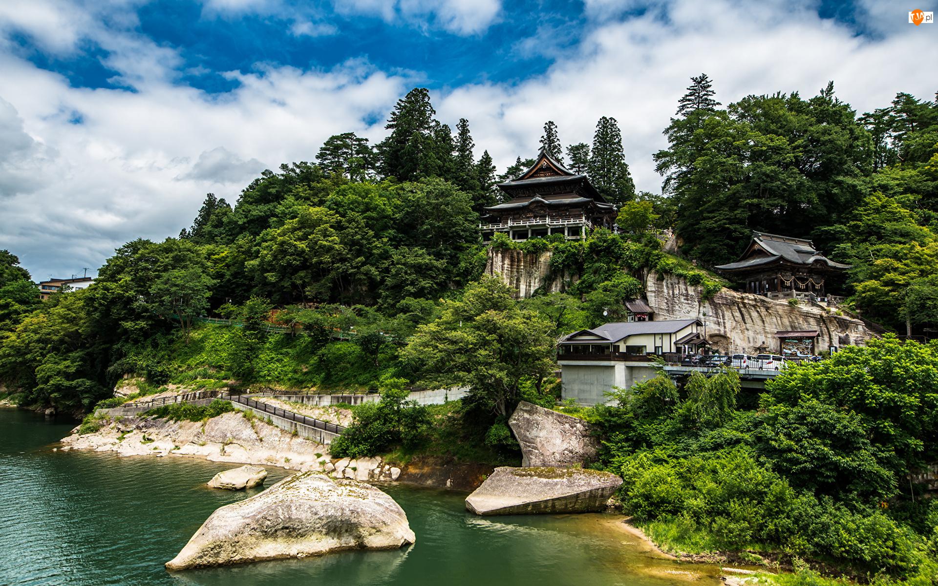 Świątynia, Japonia, Drzewa, Chmury, Tohoku, Kamienie