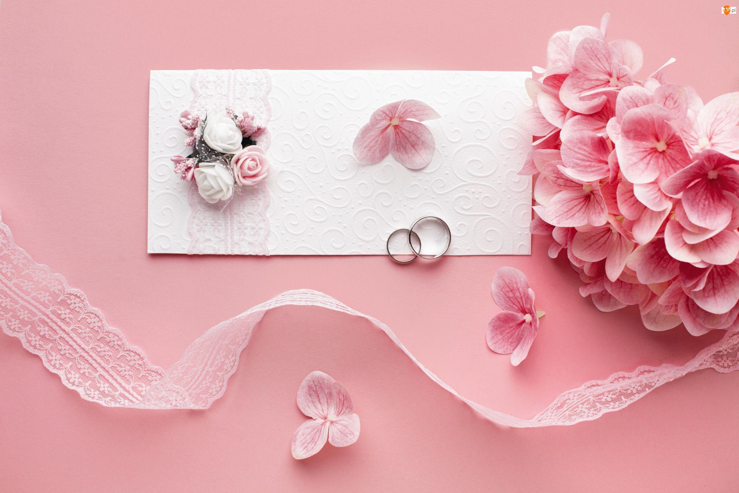 Hortensja, Ślub, Zaproszenie, Obrączki