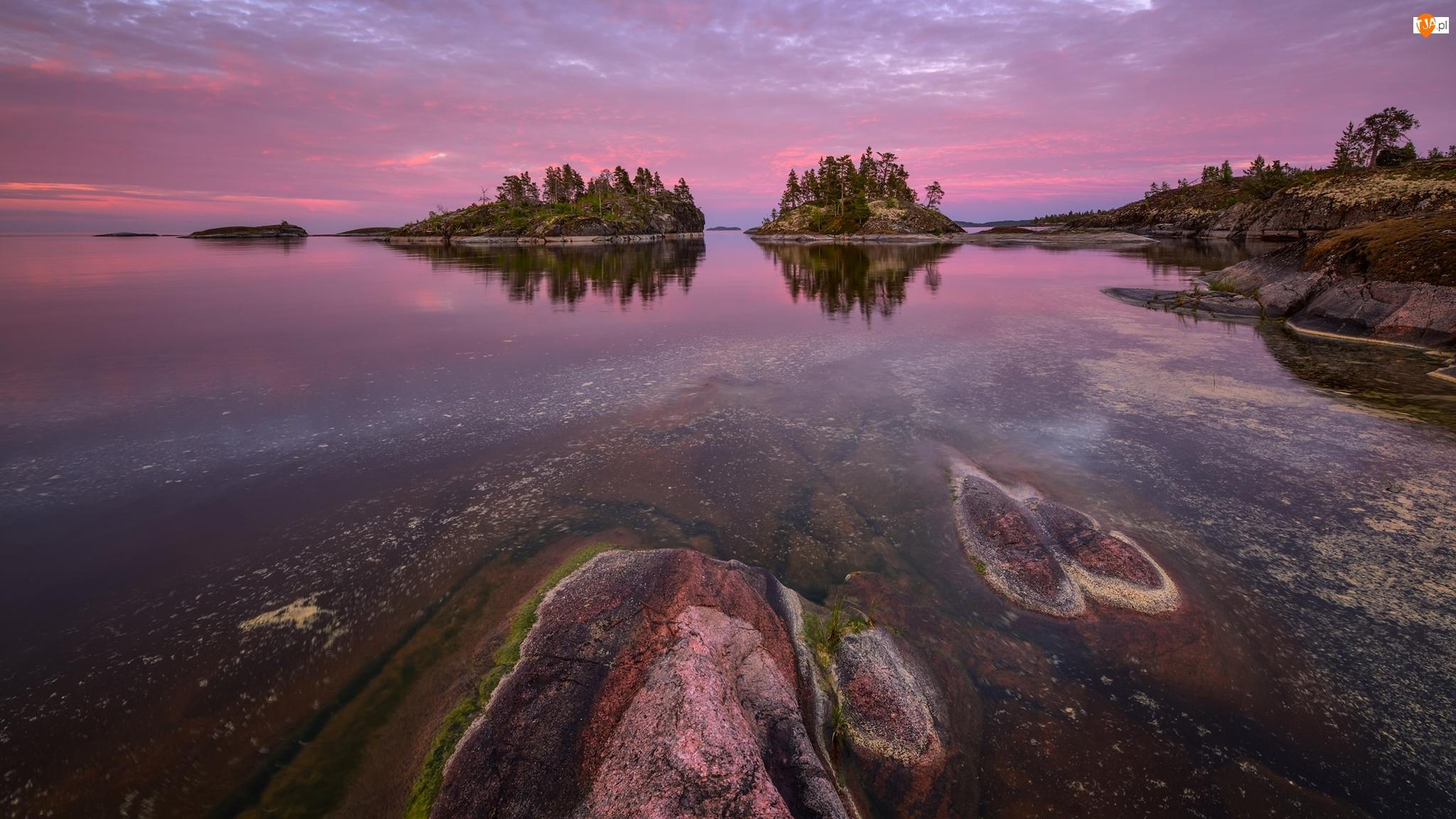 Jezioro Ładoga, Wysepki, Niebo, Rosja, Zaróżowione, Drzewa, Skały