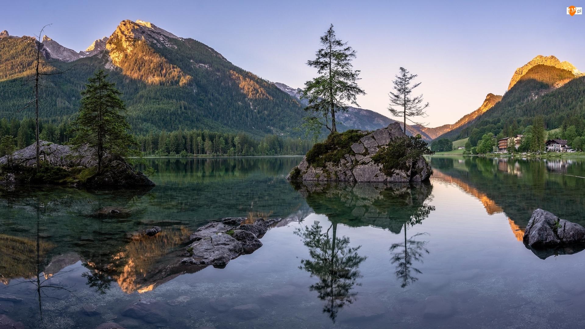 Niemcy, Alpy, Bawaria, Odbicie, Gmina Berchtesgaden, Jezioro Hintersee, Skały, Góry, Drzewa