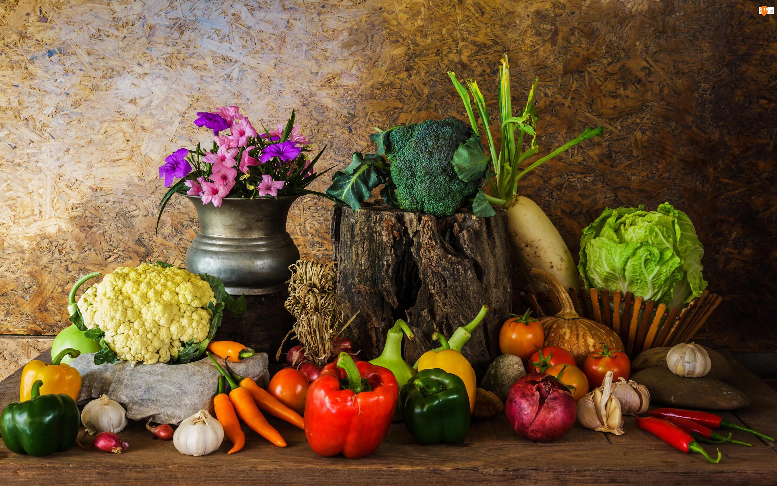 Warzywa, Bukiet, Pomidory, Kalafior, Czosnek, Kwiaty, Papryka, Kompozycja, Marchew