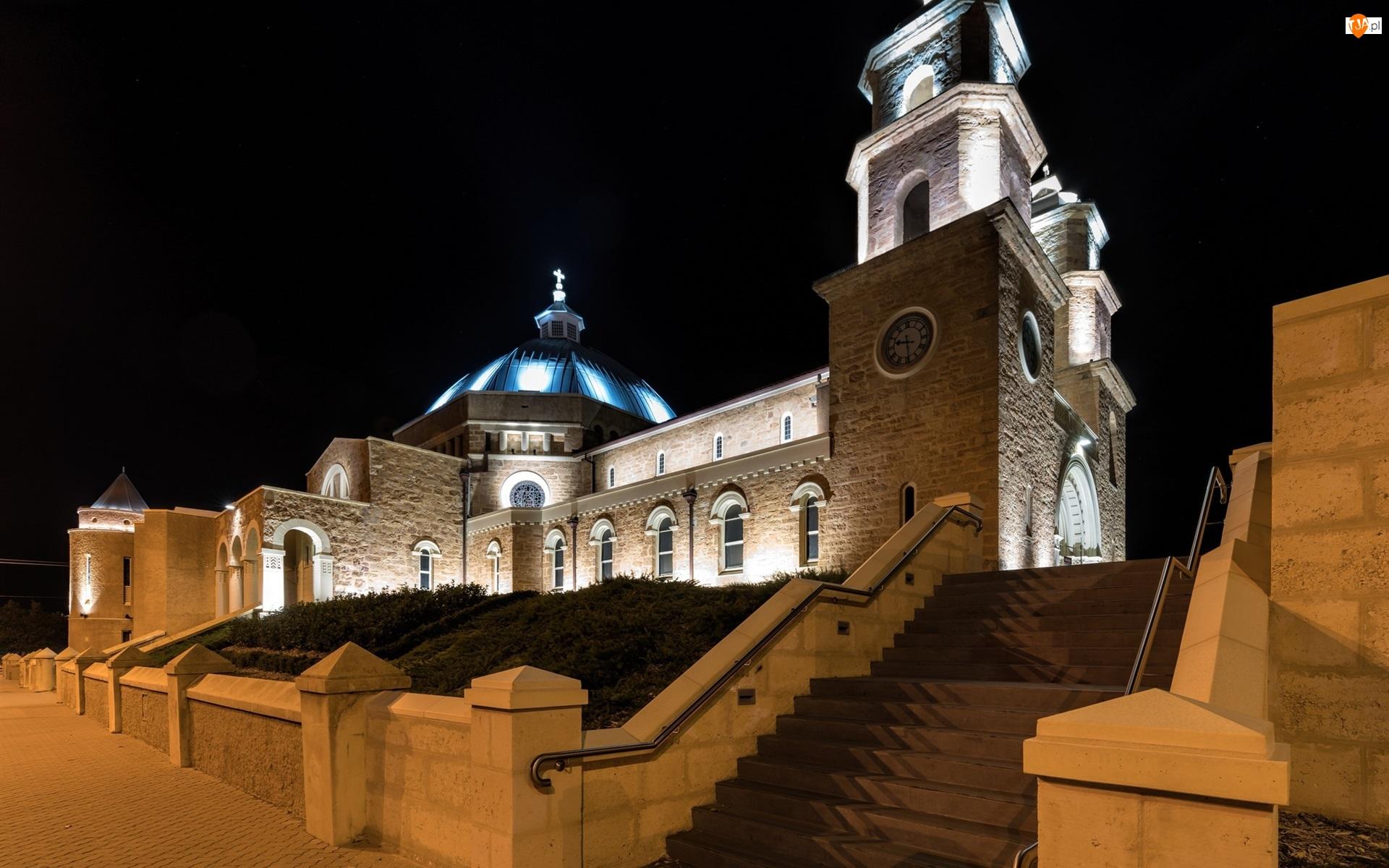 Światła, Australia, Noc, Katedra św Franciszka Ksawerego, Geraldton