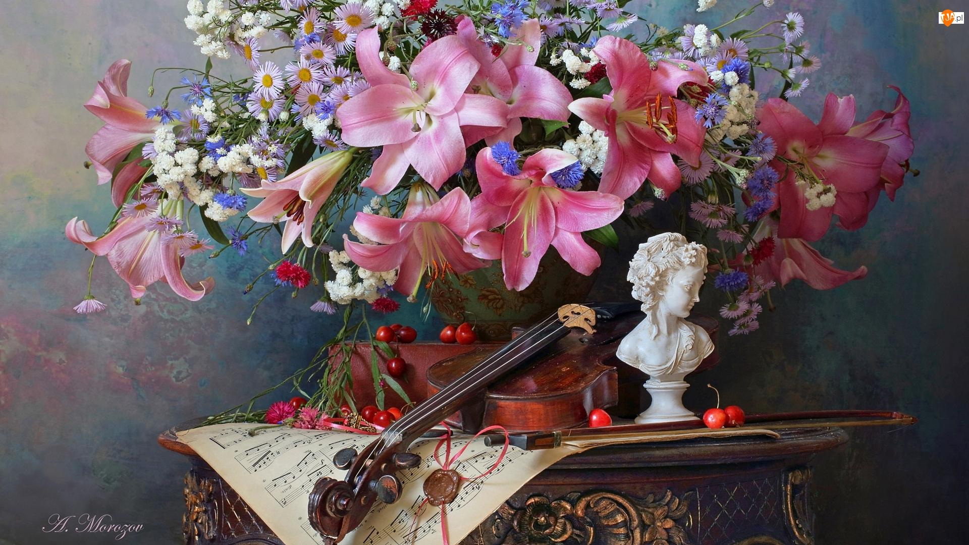 Lilie, Bukiet, Popiersie, Kompozycja, Nuty, Skrzypce, Kwiaty